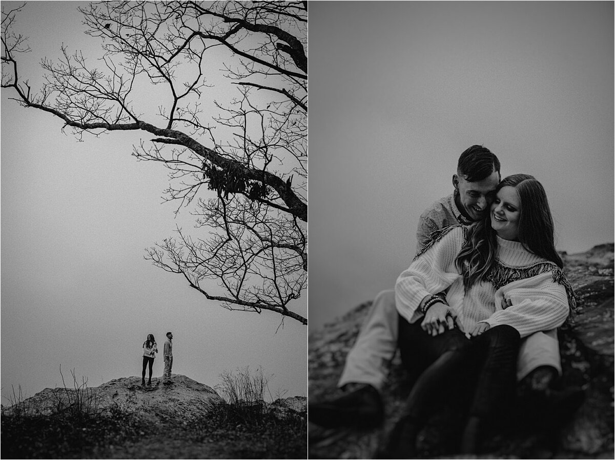 An eerie foggy late fall engagement session that feels like Sleepy Hollow outside of Chattanooga, Tennessee