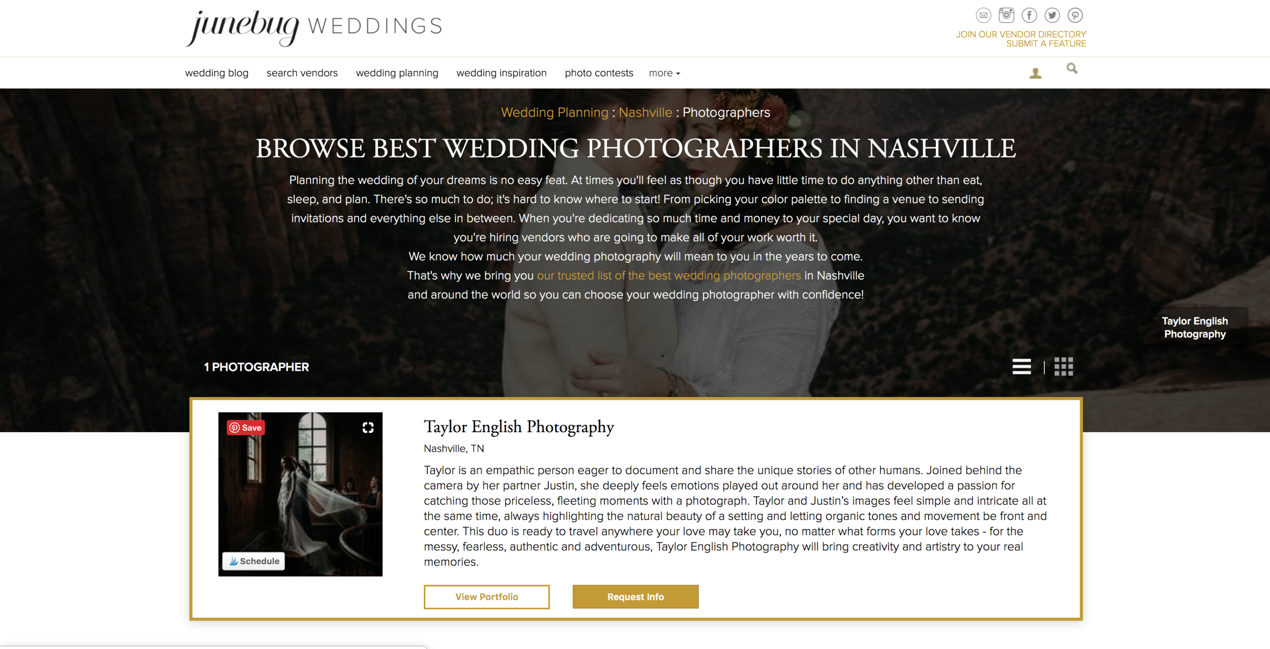 Taylor English Photography is the number one featured wedding photographer in Tennessee and South Carolina on Junebug Weddings' vendor directory list.