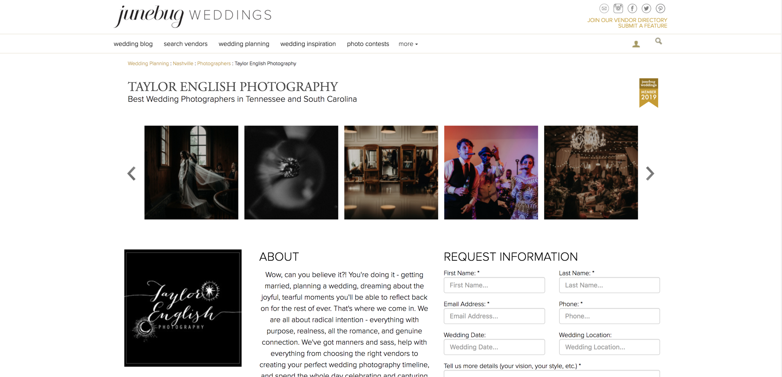 Taylor English Photography is a Junebug Weddings featured photographer in Tennessee and South Carolina