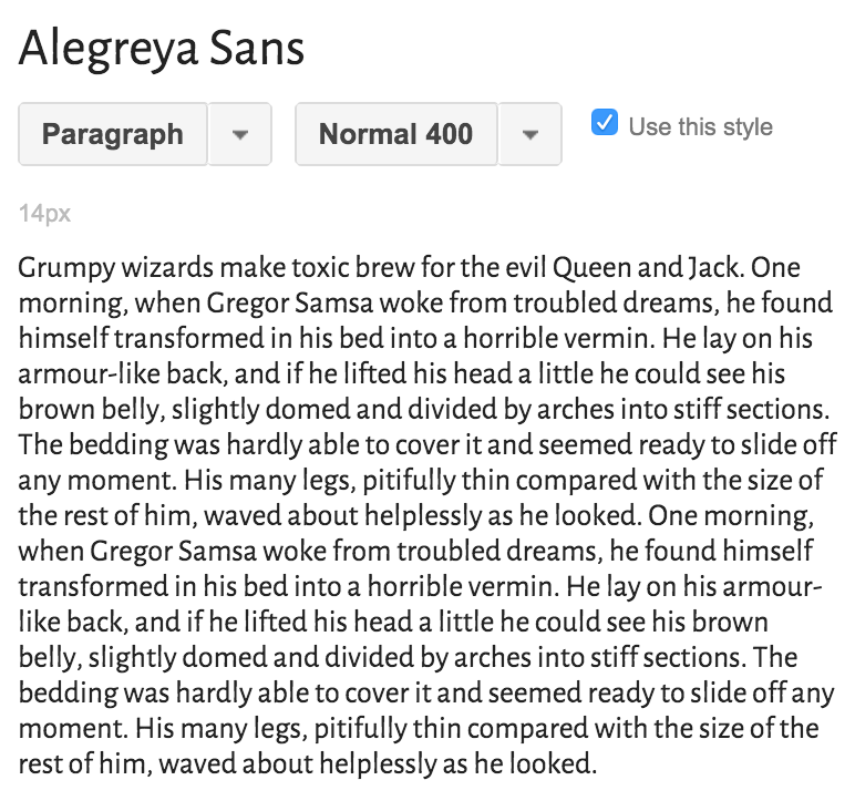 The best sans-serif fonts on Google fonts –Alegreya Sans! Rhythmic, welcoming and excellent in paragraphs as well as headlines. 11 styles! | Hoot Design Co.