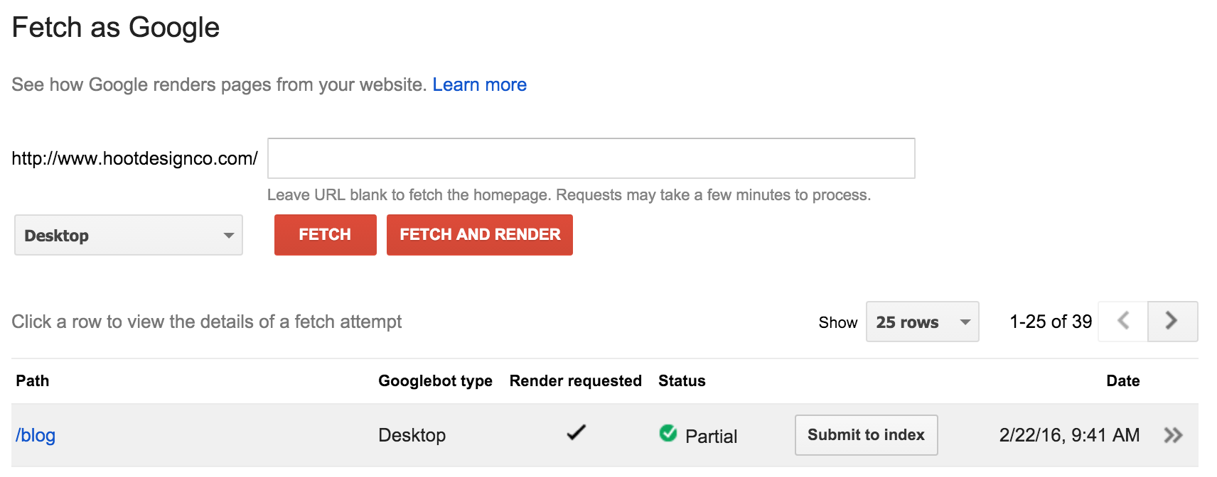 """Choose """"Submit to Index"""" to index your site updates."""