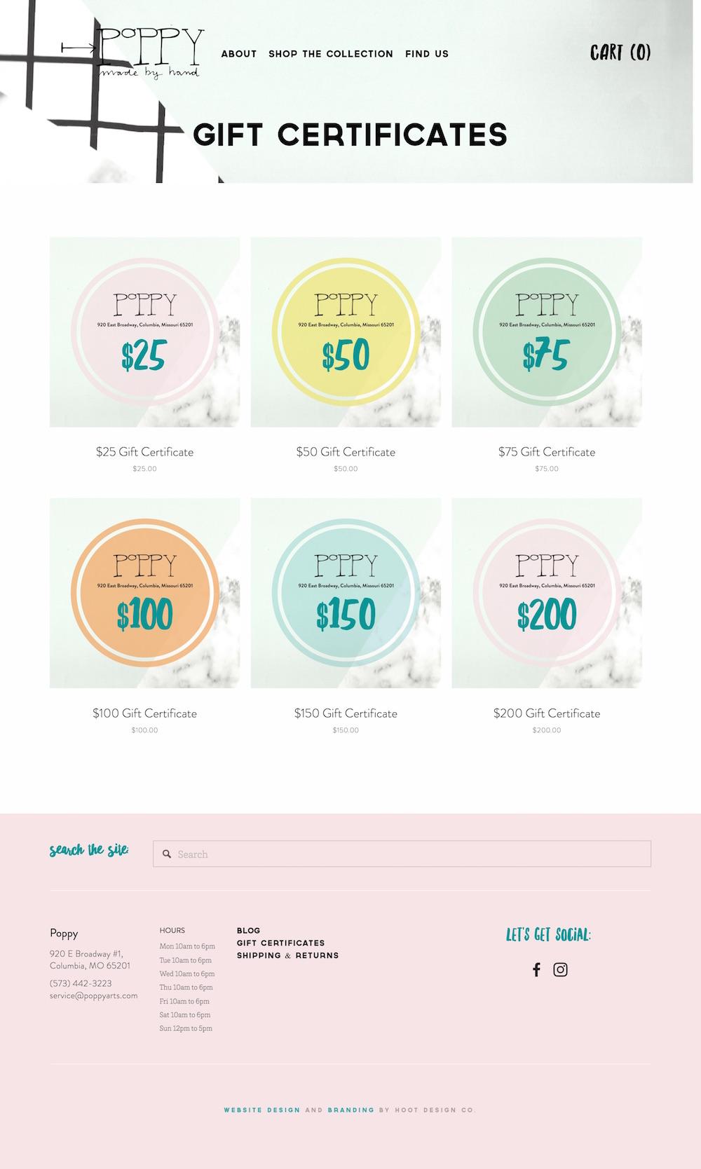 E-commerce gift certificates in the new Poppy website design | Hoot Design Co. web design in Columbia, MO