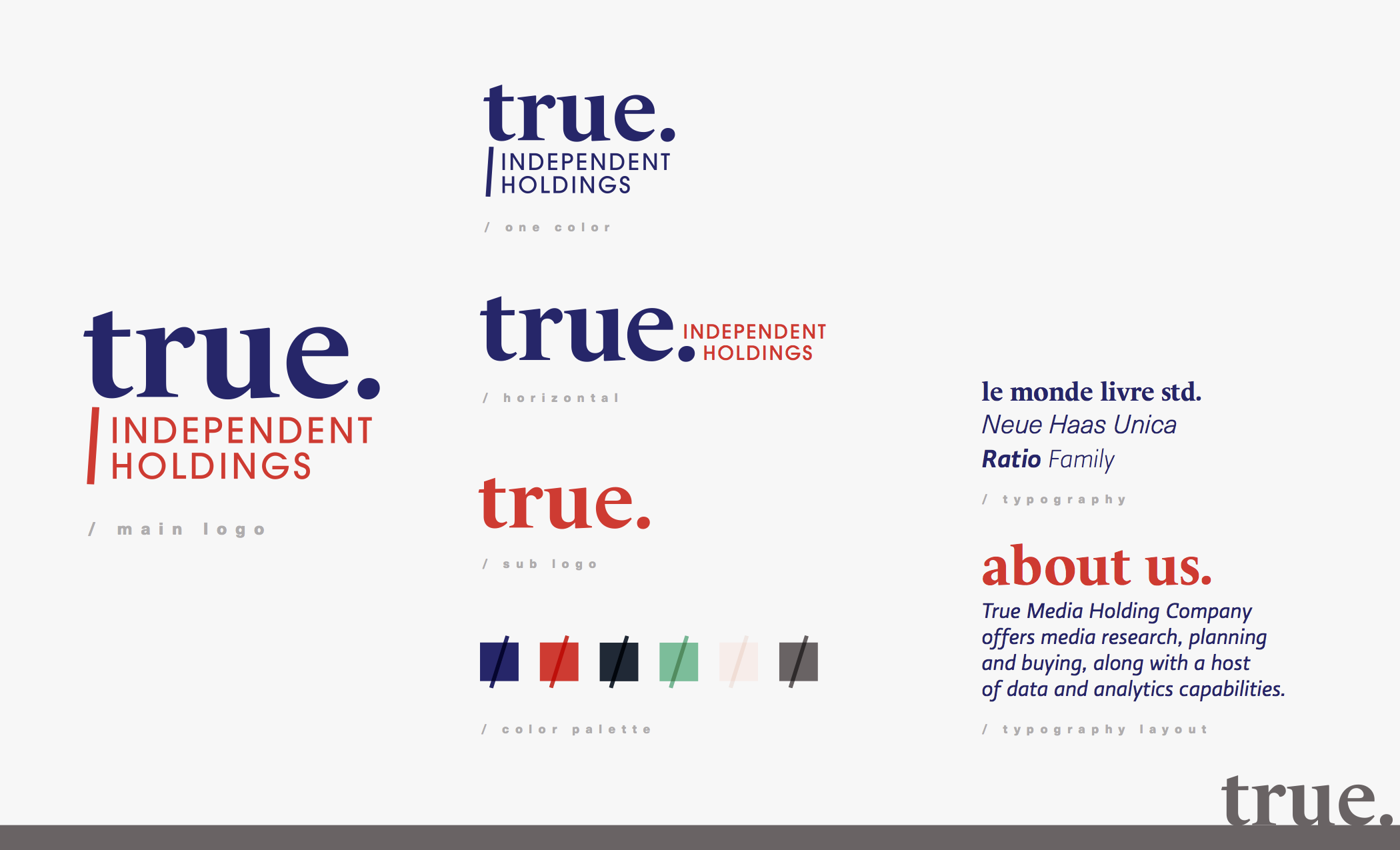 We end with a complete visual brand - Now True Independent Holdings has a look that matches their expertise. This sleek brand is sure to speak to their dream client after just one glance.
