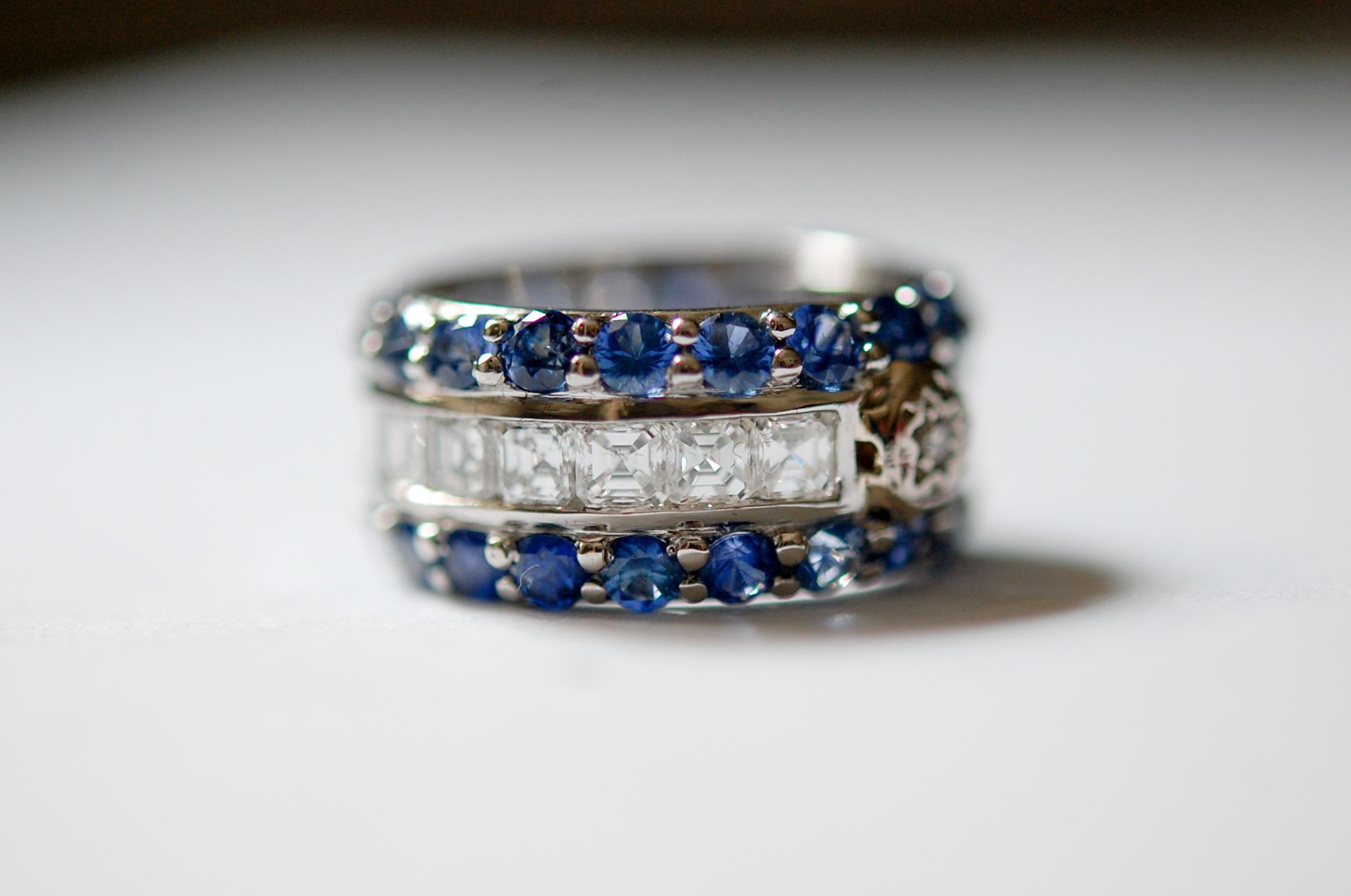 Sapphire and Diamond Wedding Band