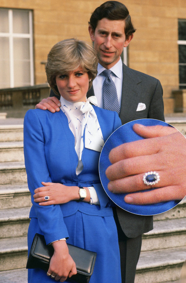 Princess Diana & Prince Charles' Sapphire Engagement Ring. Image Source Unknown.