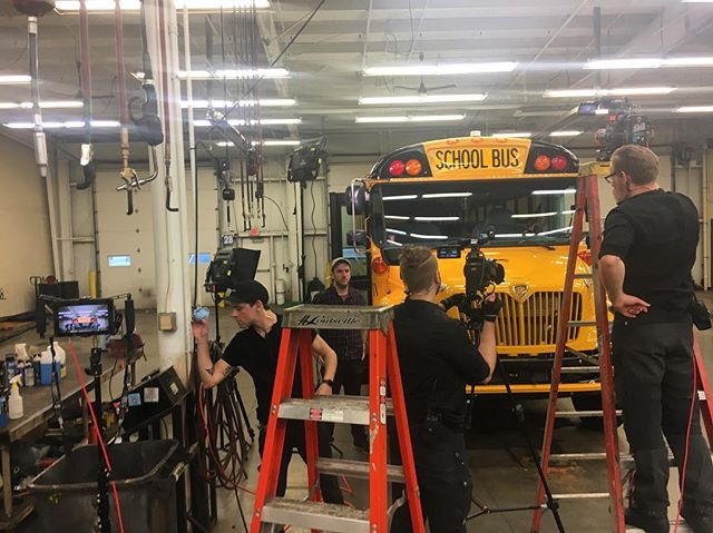 @Brodigphoto and @Schillingfilm the camera ninjas 🎥💥Behind the scenes Paul Louis set up the shot on location in Indianapolis for #ICBus 🚌