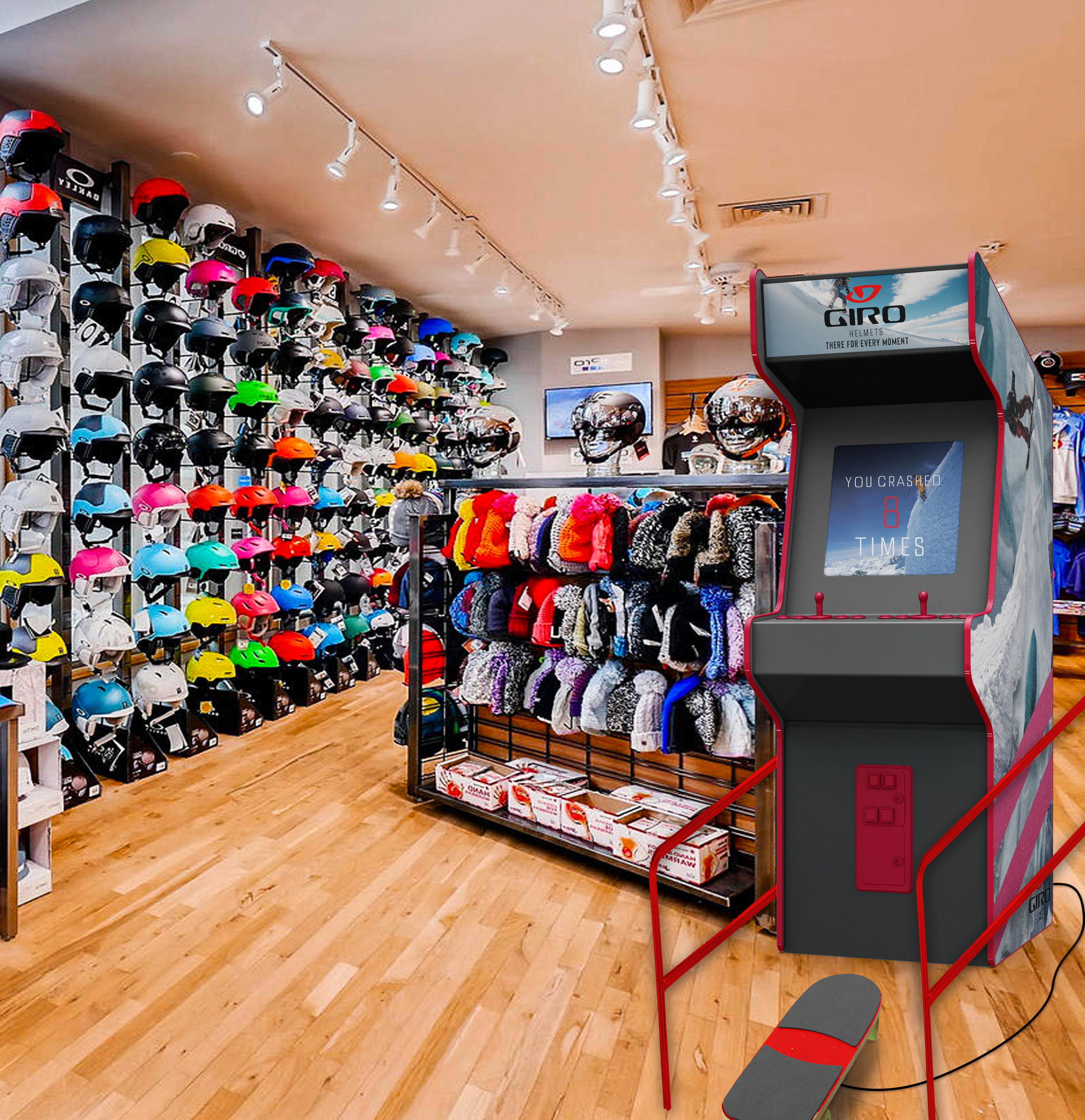 Arcade-style mountain biking and snowboarding games are placed in stores to put customers in the nerve-wracking situations they can expect in these sports. At the end of each game, customers see how many times they crashed and are given a CTA to buy a Giro helmet.