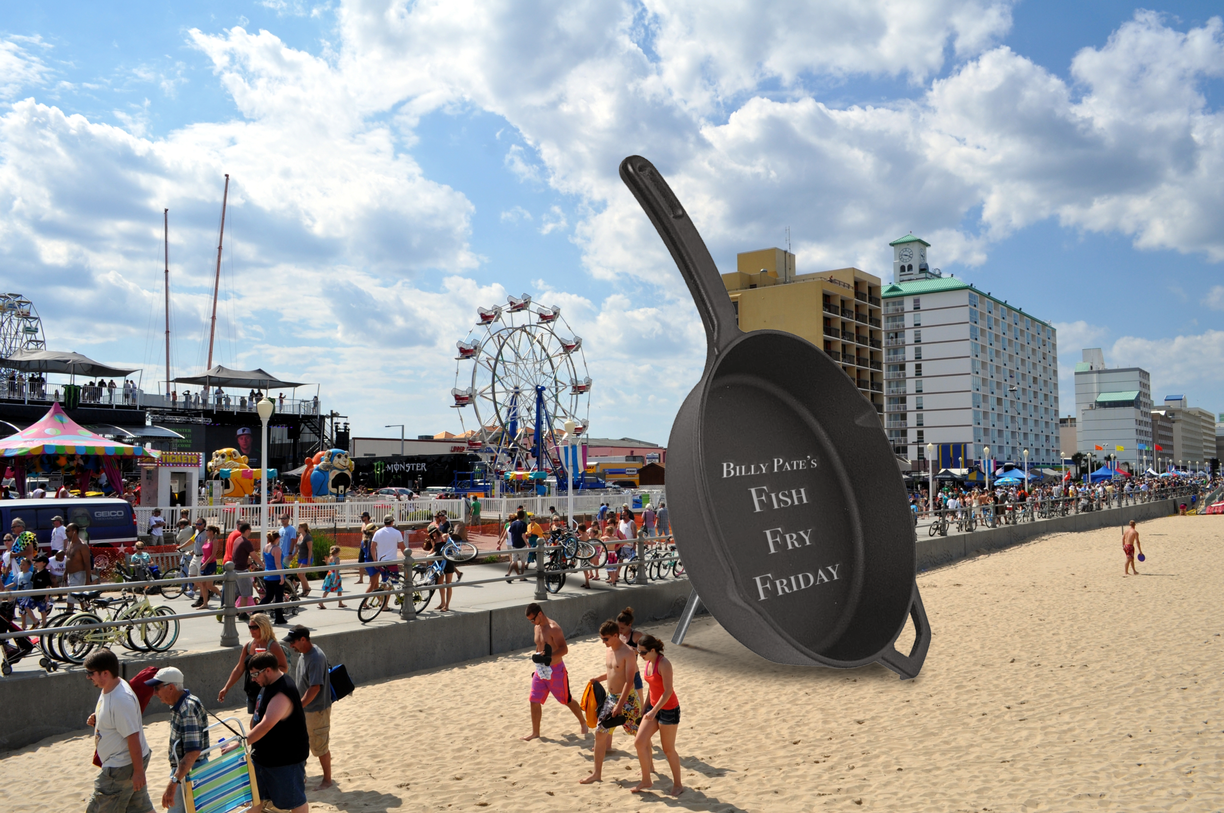 Billy Pate hosts Fish Fry Fridays at popular saltwater fishing locations, such as Ft. Lauderdale. A giant frying pan is used at the event for all of the large saltwater fish caught with Billy Pate reels.