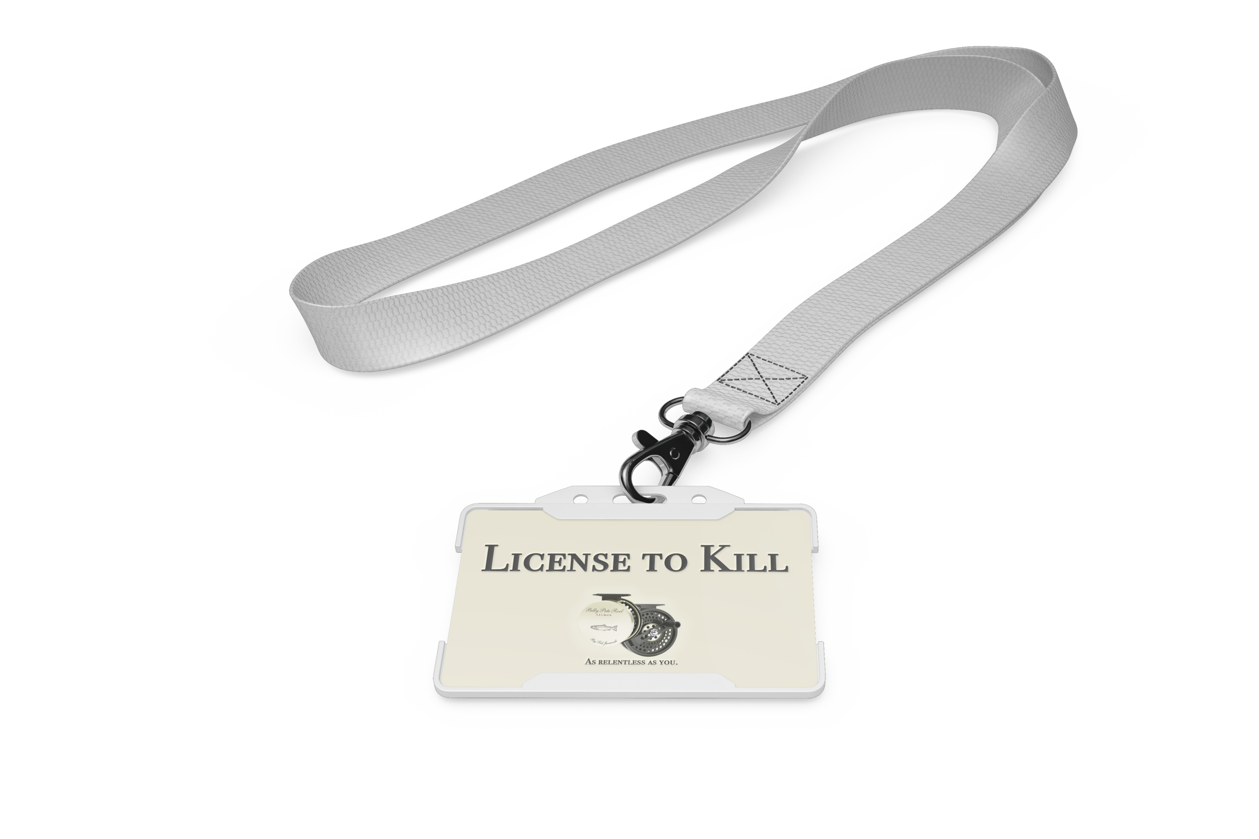 Fishing license lanyards give customers a license to kill