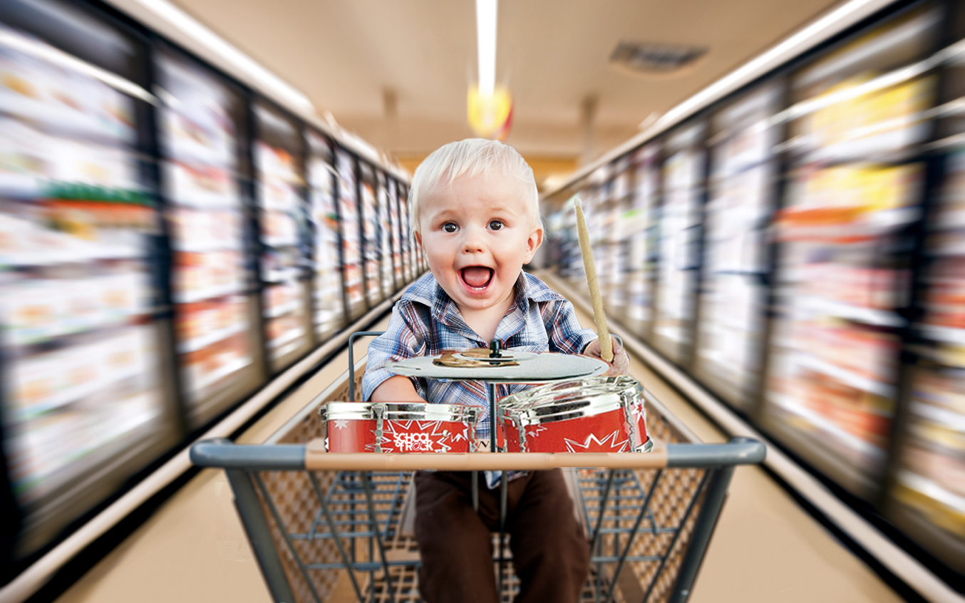 Kids can rock out while their parents shop with mini drum sets placed on grocery store carts.