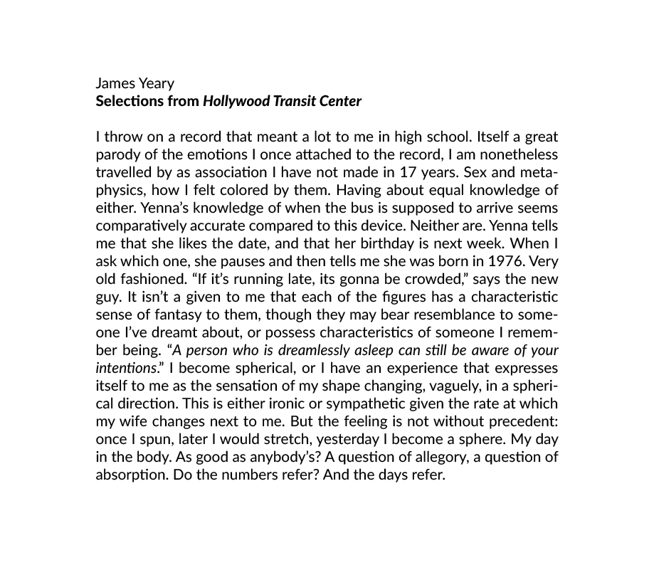 Selections from Hollywood Transit Center, James Yeary