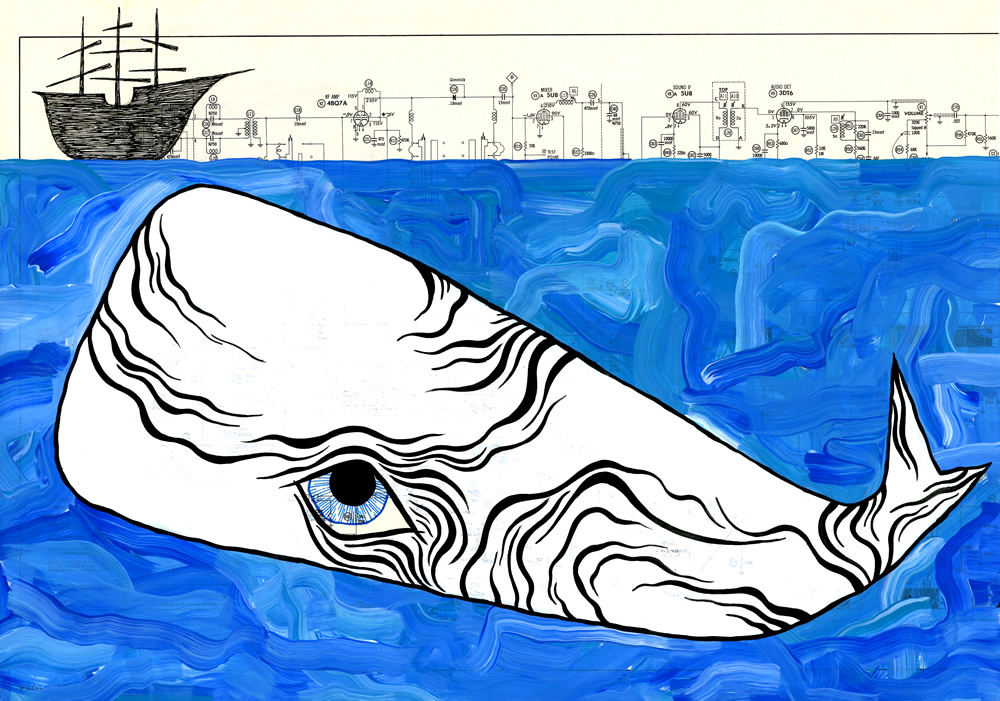 """White Whale, Blue Sea, Wood Ship."" Nov. 12, 2014. Acrylic paint and ink on found paper. 10.75 x 15.5 in."