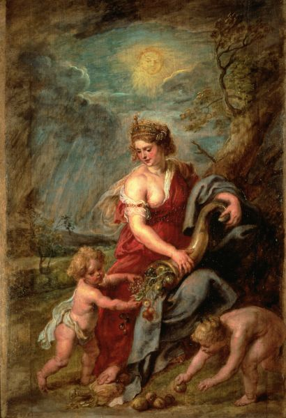 Peter Paul Rubens,  Abundantia.  (c. 1630) Oil on canvas. 25.1 x 18 inches.