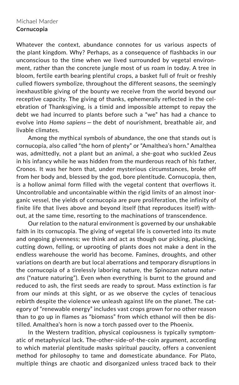"Michael Marder ""Cornucopia"" pg. 1"