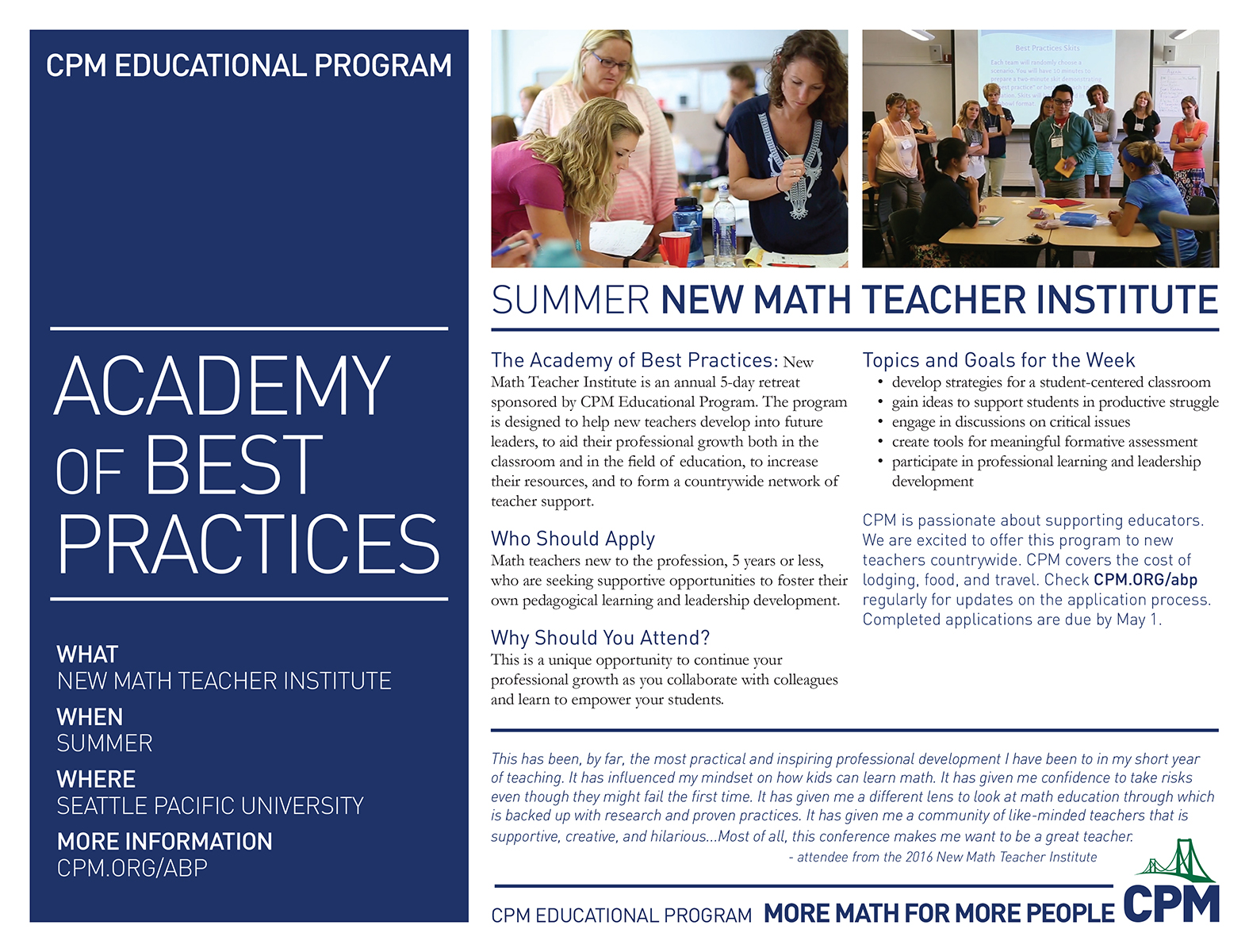 Academy of Best Practices New Math Teacher Institute Flyer