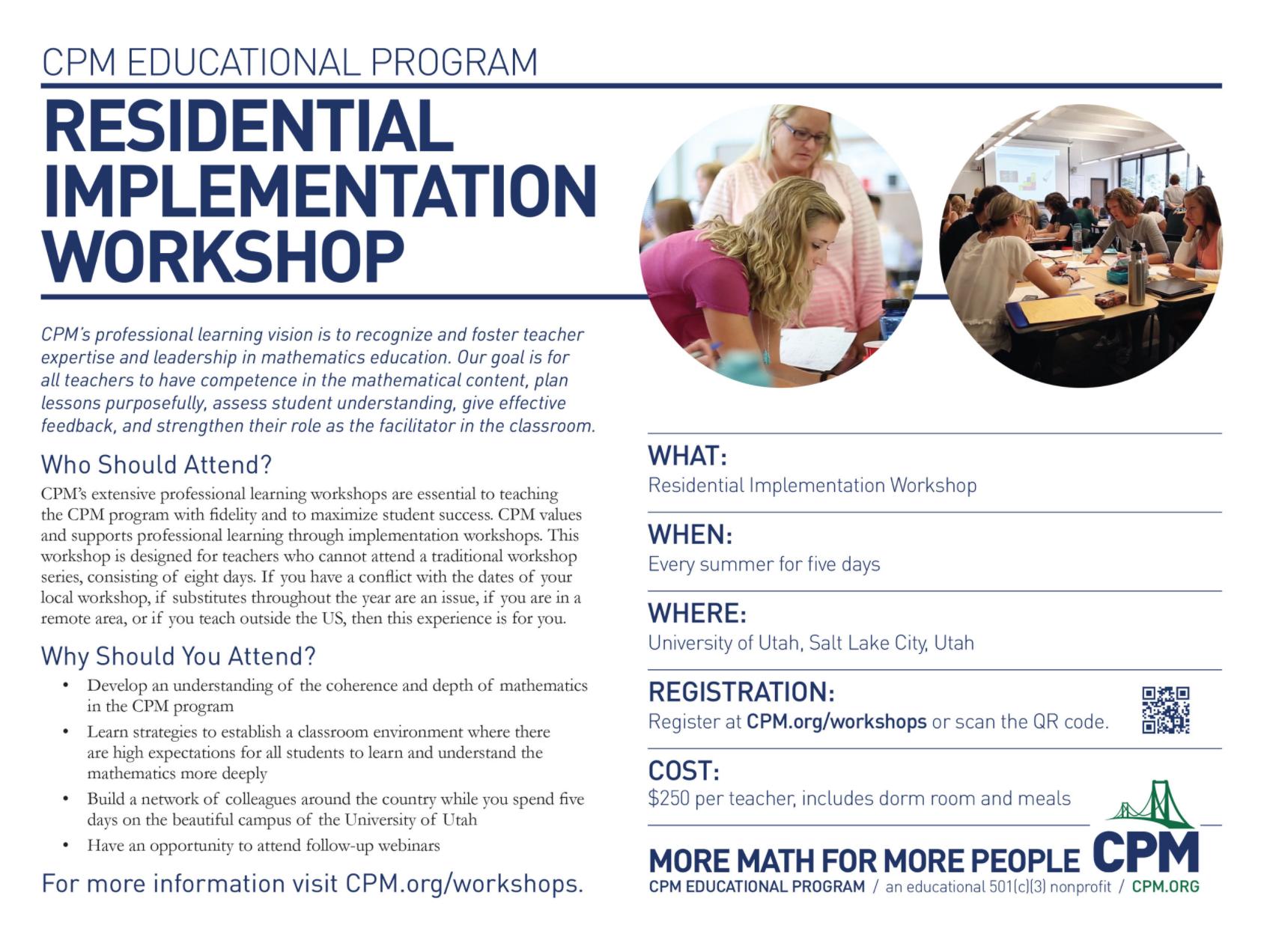 Image of the Residential Implementation Workshop Flyer