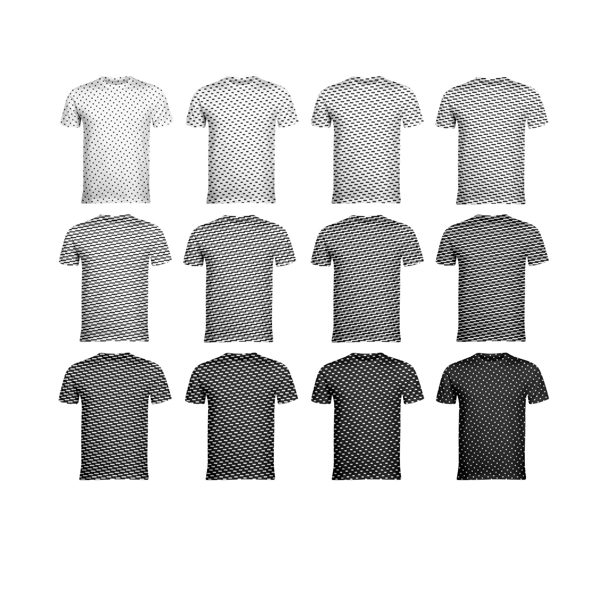 13_5 Satin Gradation Tees, 2018  This collection explores weave structures as graphic patterns and gradation systems. I am interested in the subtlety of the gradations that provide the structure for woven cloth and a shaded appearance that relate to halftones, bitmaps and other graphic design logic systems.  This series is available for  purchase .