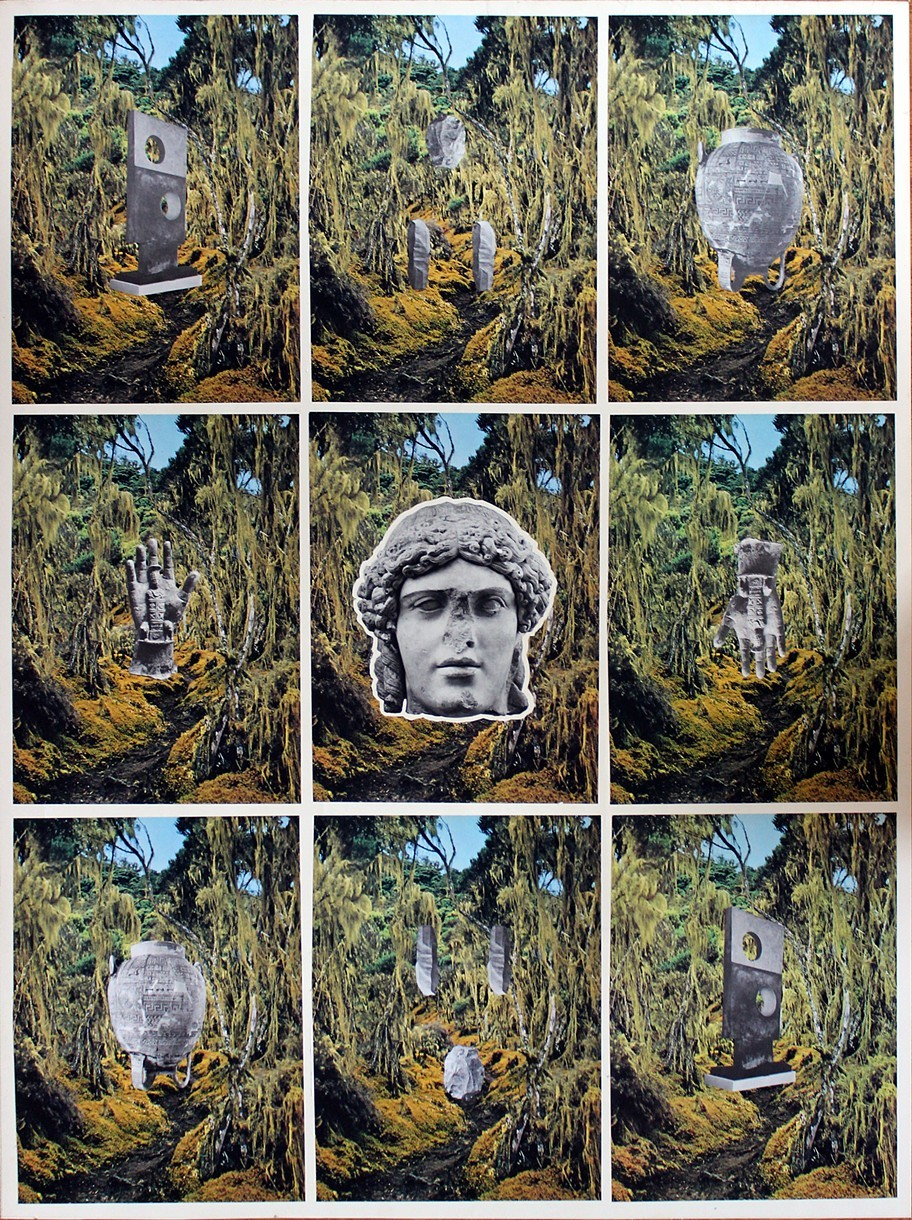 """Yellow Jungle 2014 Found book pages on found paper 40""""x 30"""""""