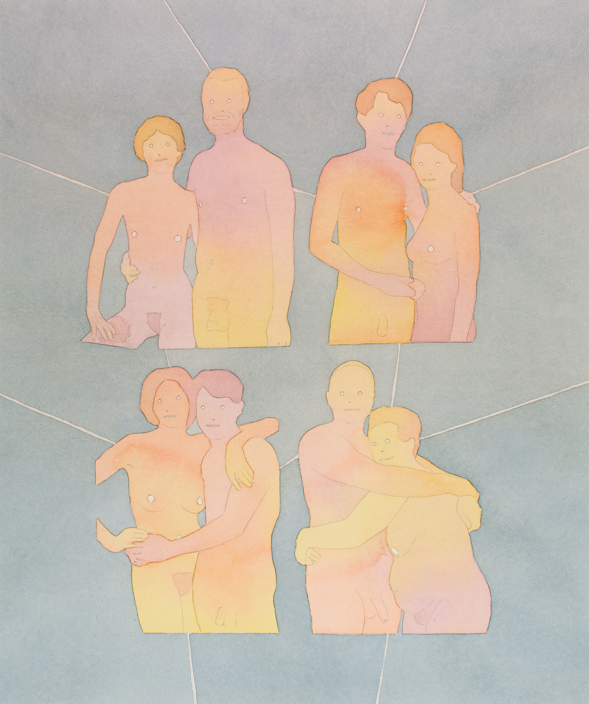 "Four Couples  2012  Watercolor and   acrylic on paper  18"" x 15"""