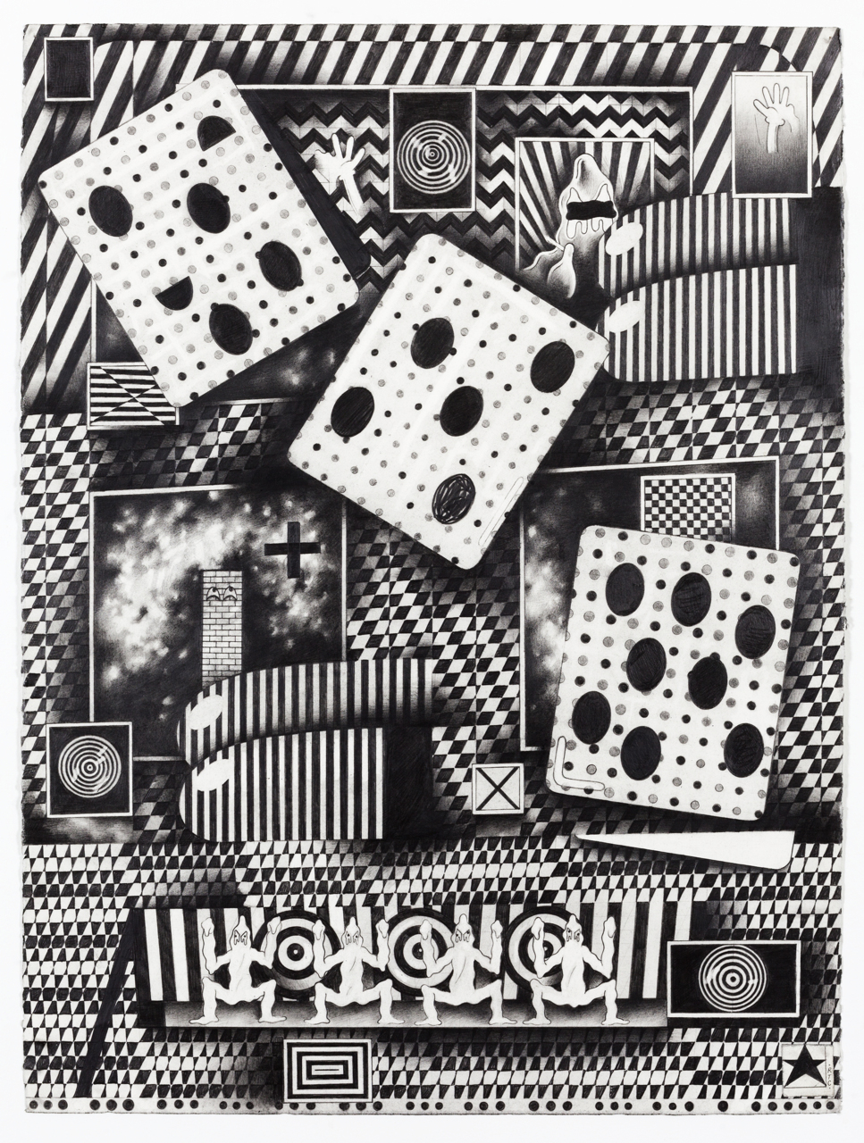 Weird Dice  2012 Graphite on paper 22 x 30 inches