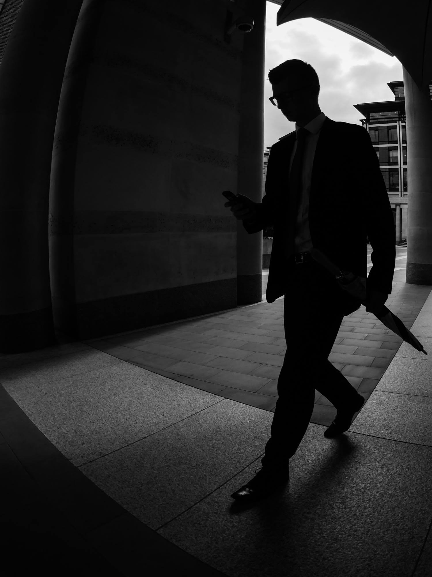 A silhouette of a man taken near London Stock Exchange