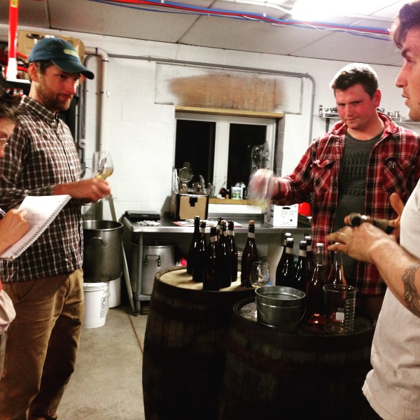 Garrett and Jimmy barrel-tasting  Good Life Cider's  current and to-be-released