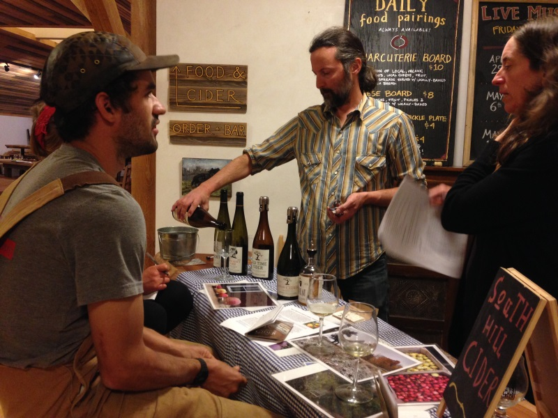 Steve and Ellyn of  South Hill Cider  pouring the whole catalog to date