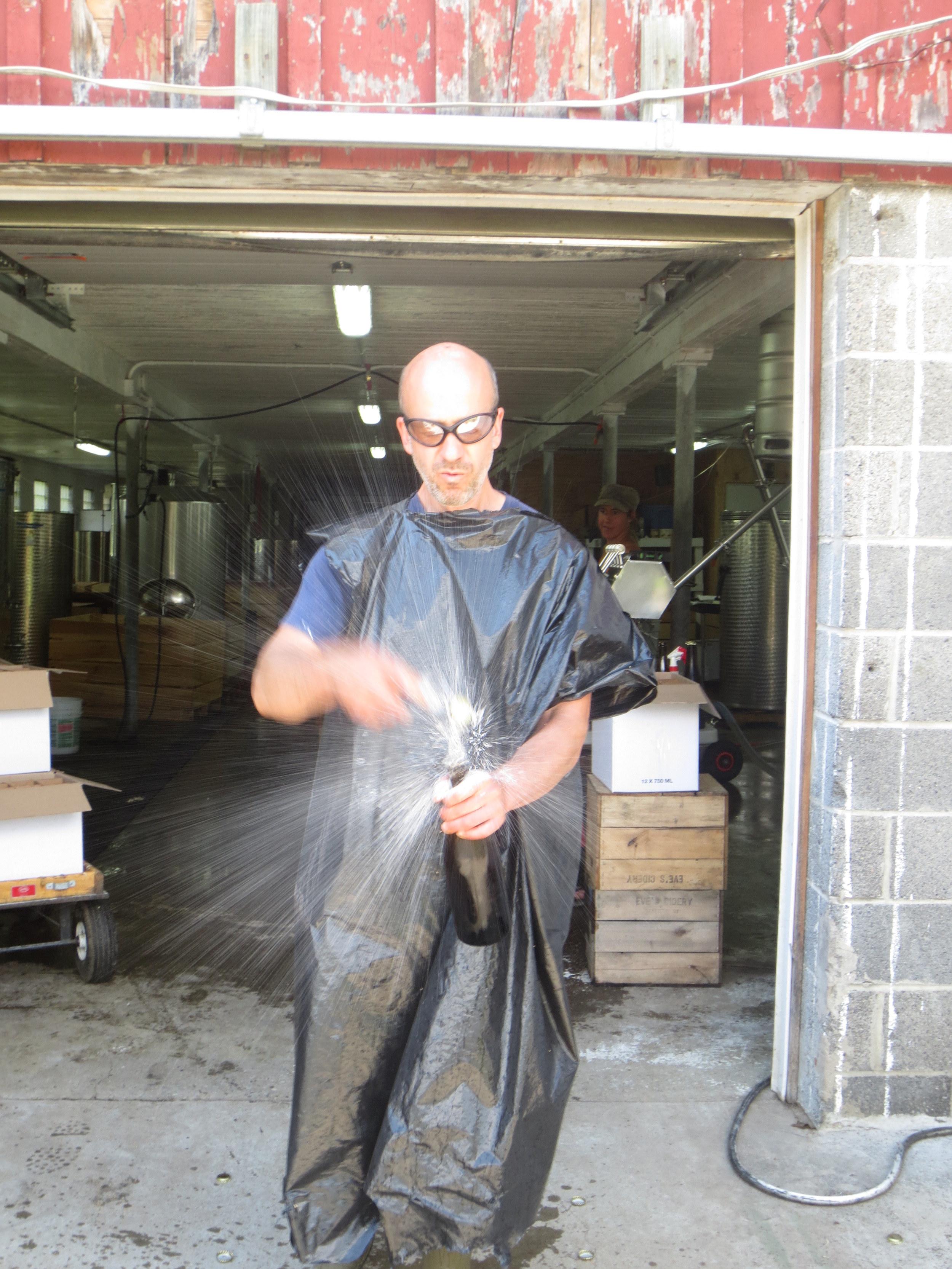 Ezra in summer gear, disgorging Eve's signature champagne method cider