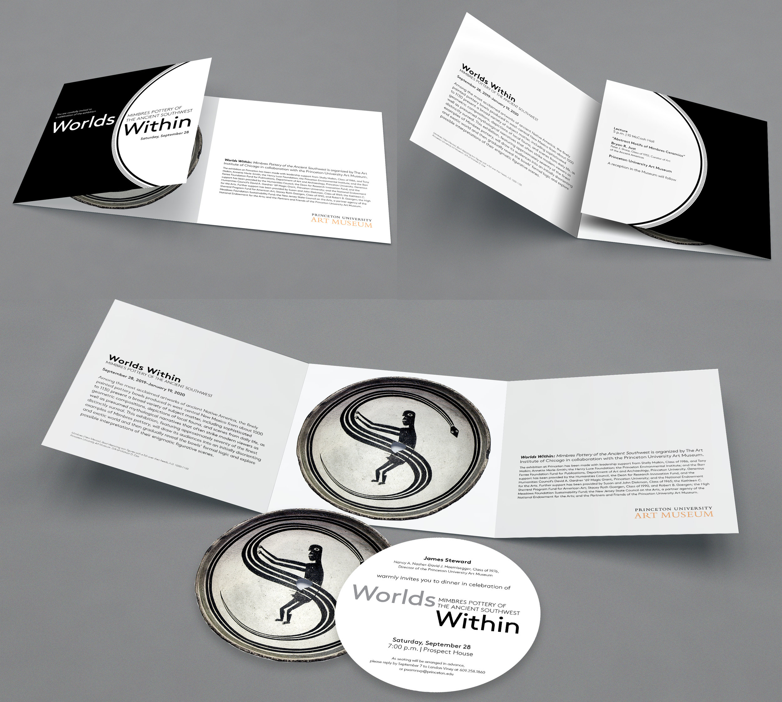 """Invitation suite. Square 5.5"""" trifold with die cut 5"""" circle insert for the dinner invite. Envelope: standard 5.75"""" square, either black or white."""