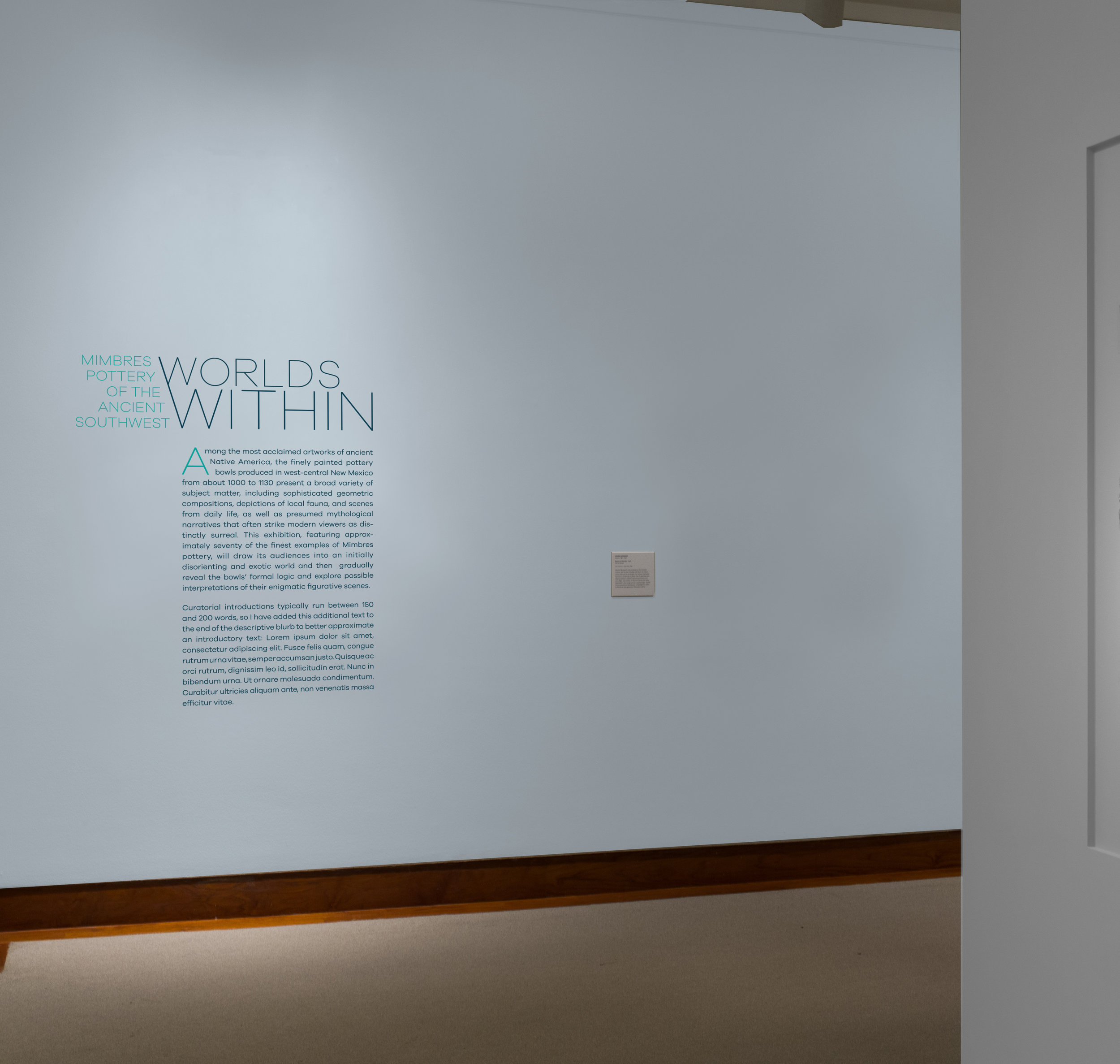 Exhibition title and wall text inside gallery, Option2.Wall Color: Benjamin Moore Beacon Gray