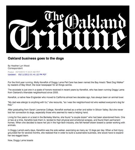 Oakland Tribune Doggy Lama article