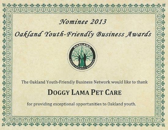 Doggy Lama Oakland business award