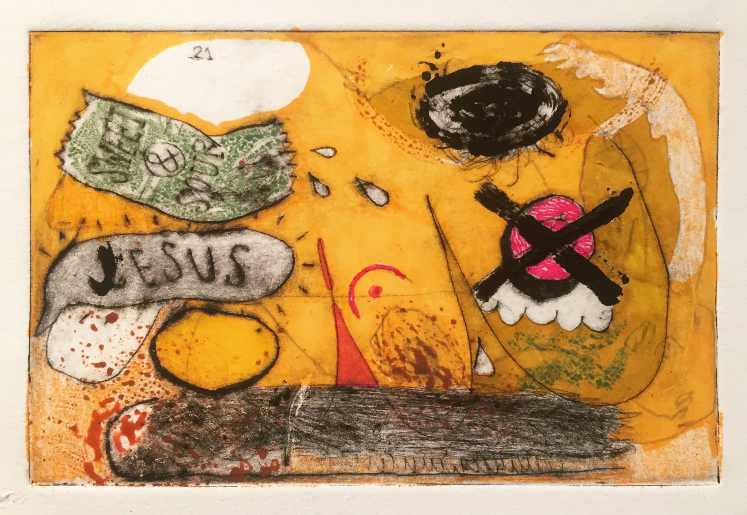 sweet & sour Jesus  | drypoint and marker | dimensions: small | 2015