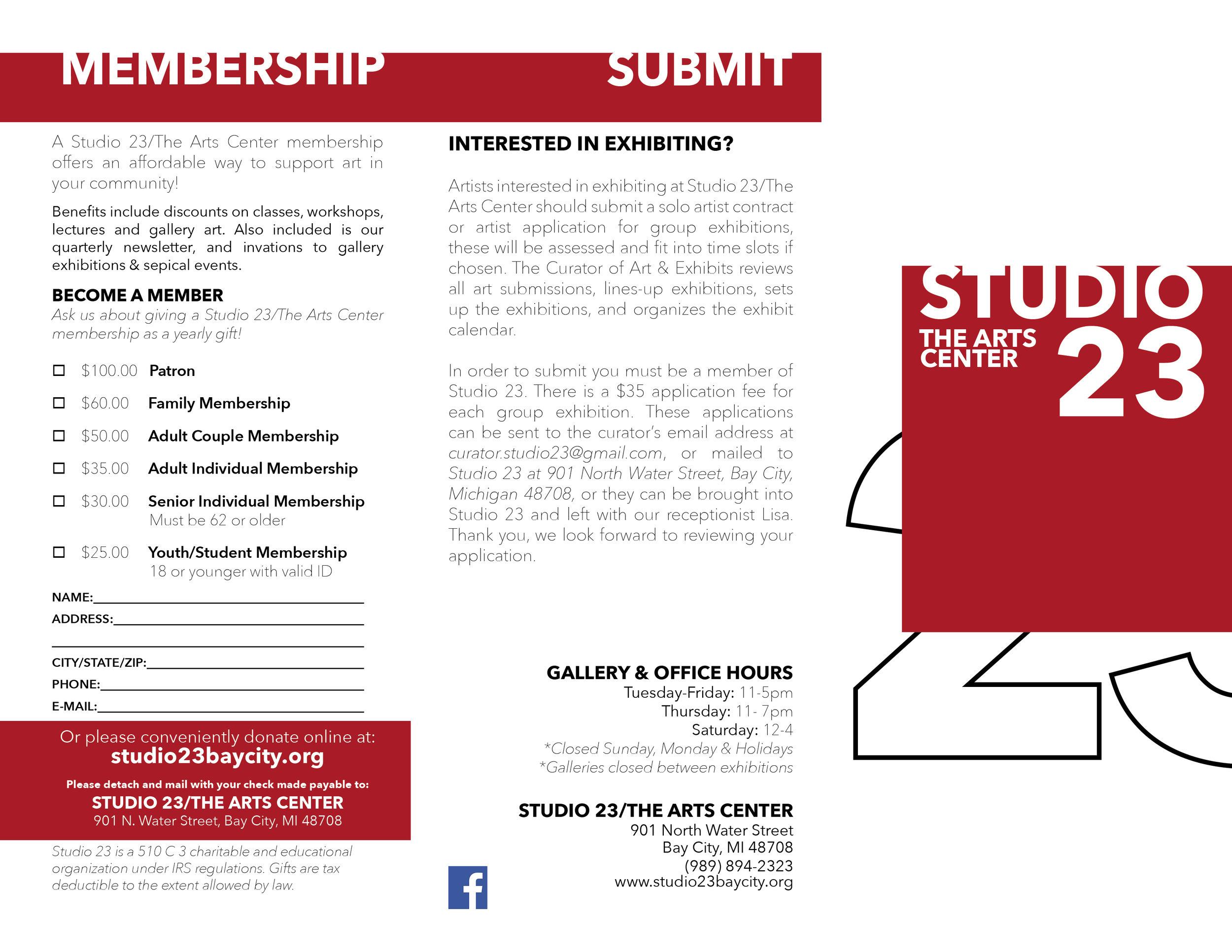 Studio 23 Brochure Front