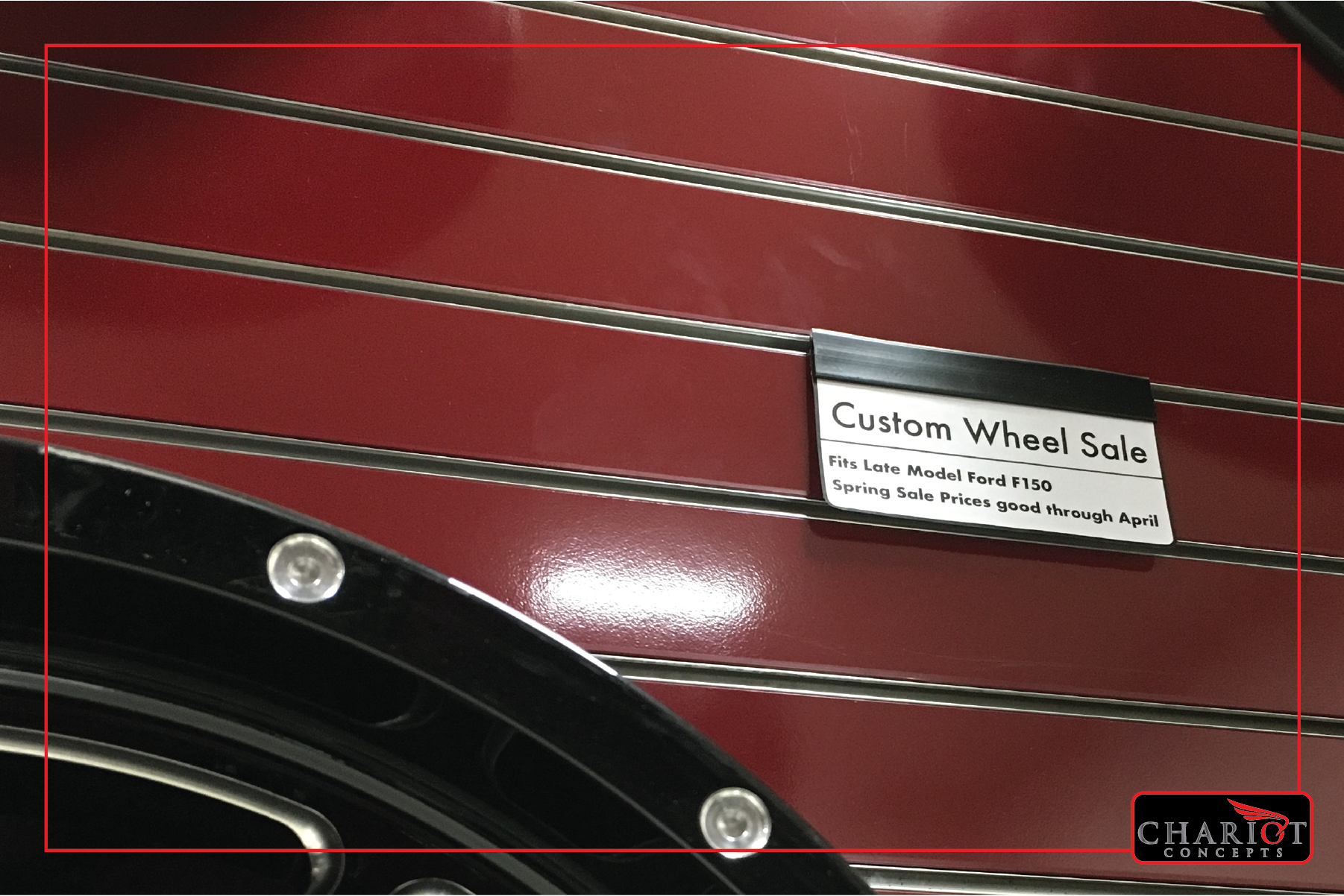 This example is plain, but it illustrates the way information can be conveyed to customers on a wall of wheels or tires. Want to advertise your credit program? Want to introduce a new custom wheel line? Just placing the product on the wall is not enough. Tell your customers what they fit, how to buy, what they cost. Don't make them guess!