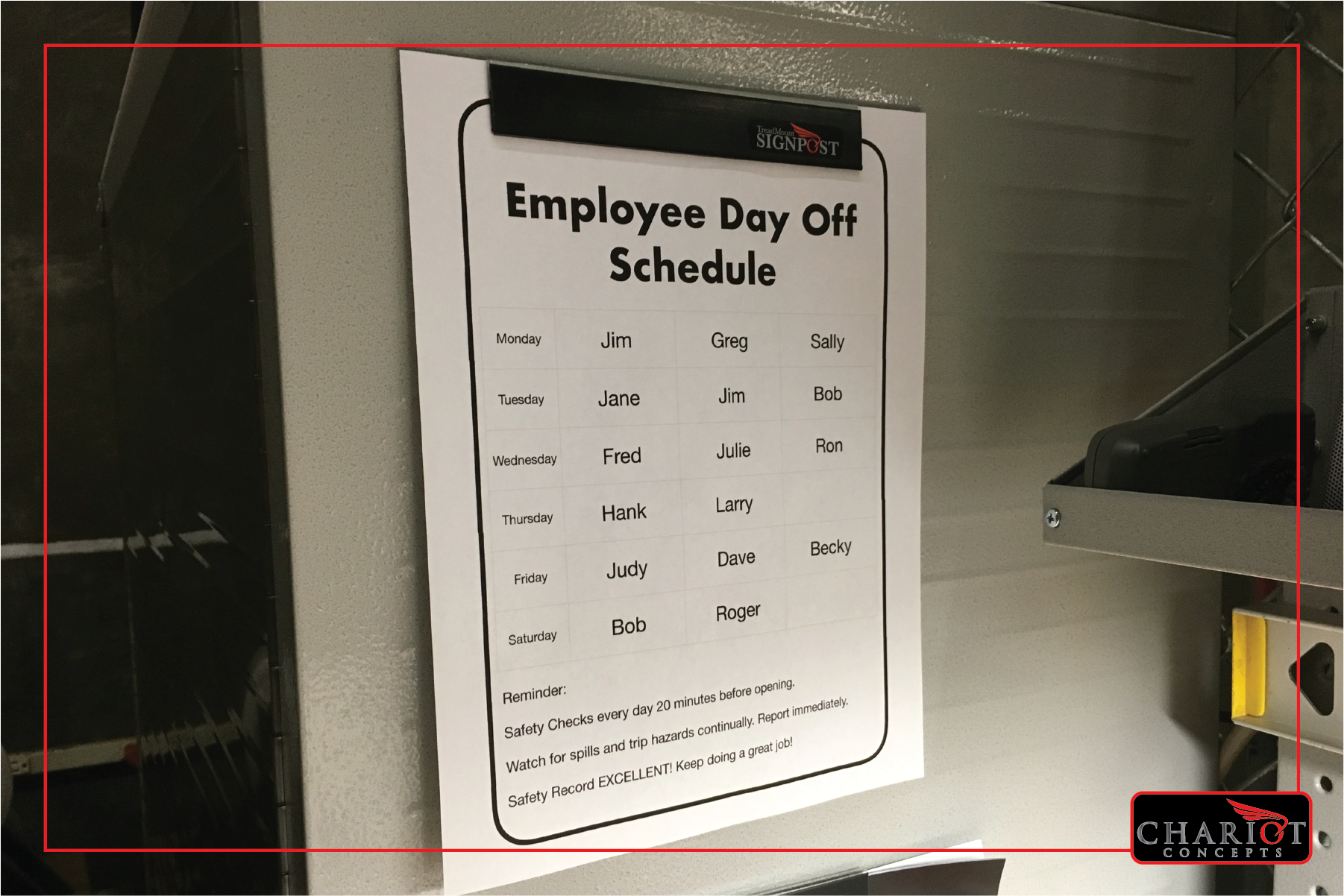 Are you tired of the mess left behind by tape when posting schedules? The Slat&Rack Signpost provides a permanently attached quick-change magnetic clamp for your schedules. Change them out without a hassle or a mess.
