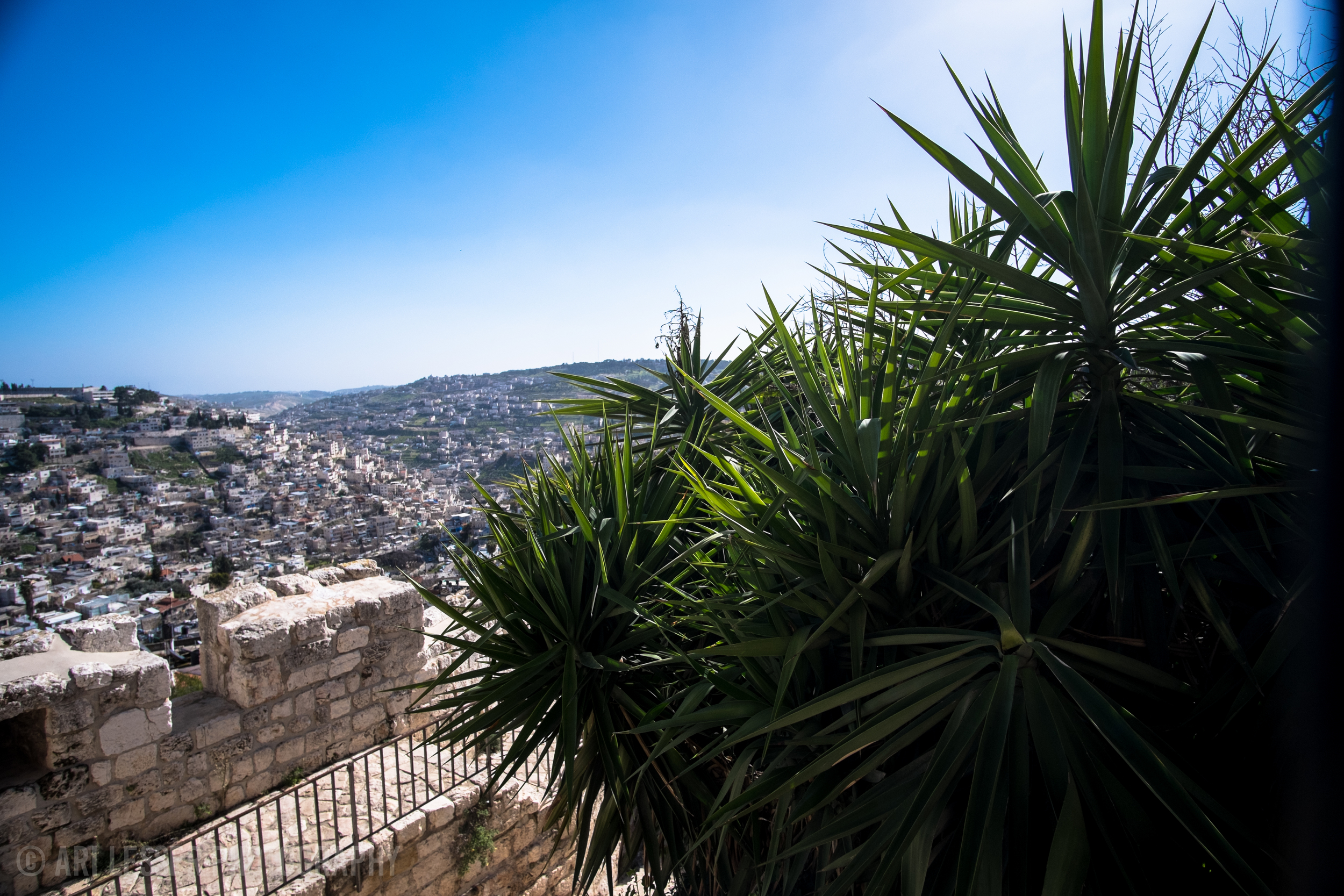 View of the old city and the hills of Jerusalem.