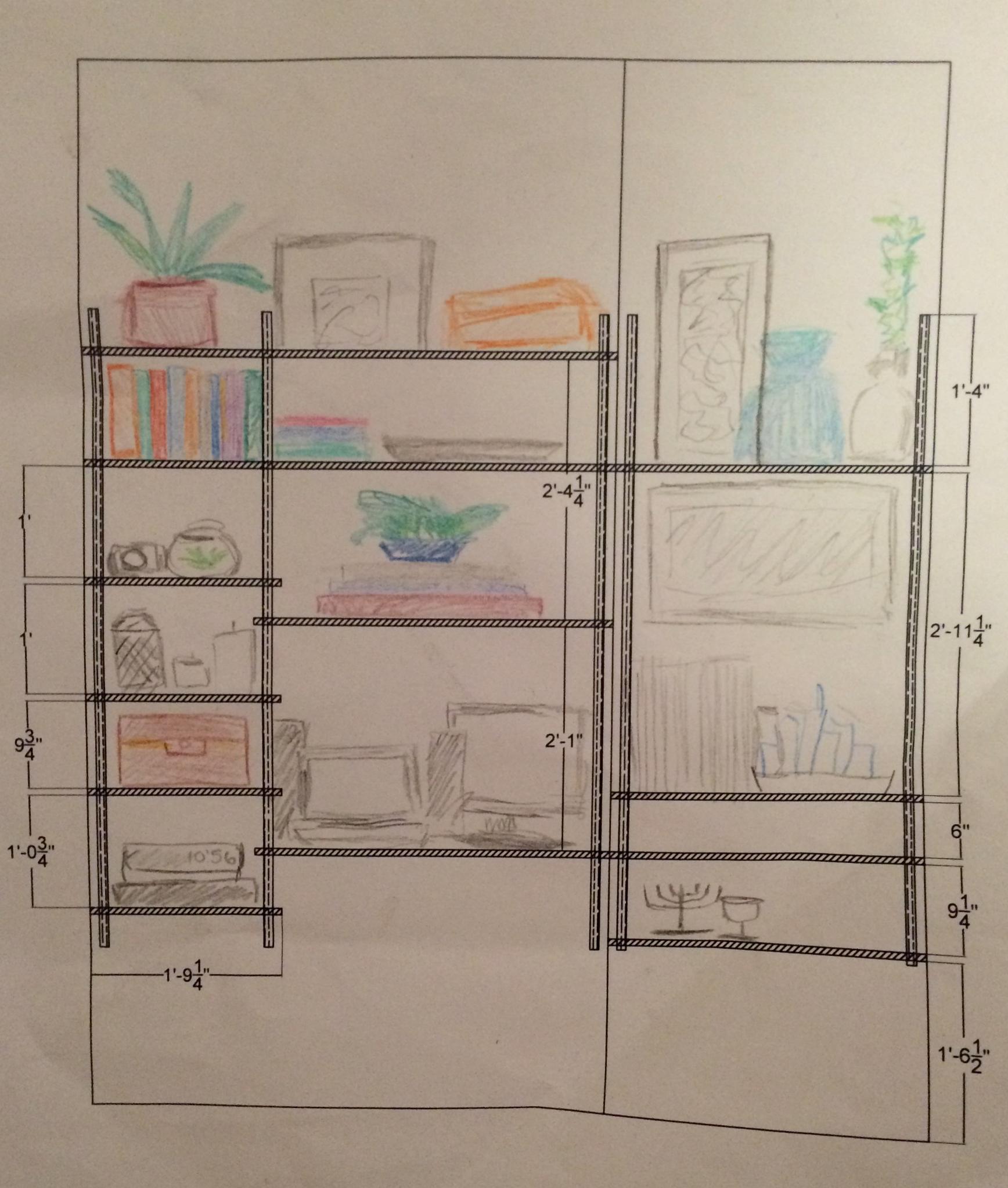 Colored Shelf Sketch