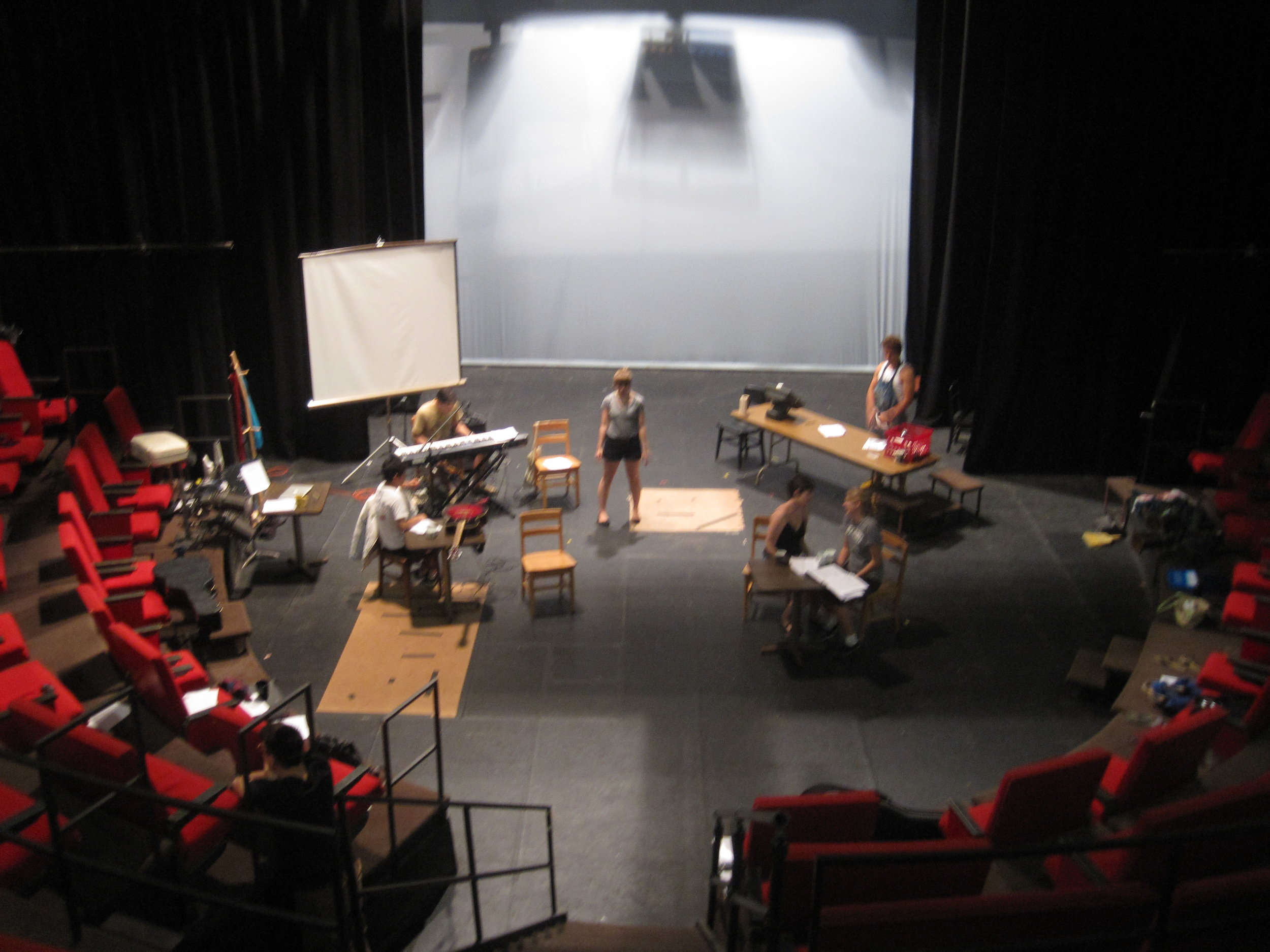 Rehearsal of GROUNDS' original 2010 staging at Carleton College, Northfield, MN. Dir.  Alex Higgin-Houser .