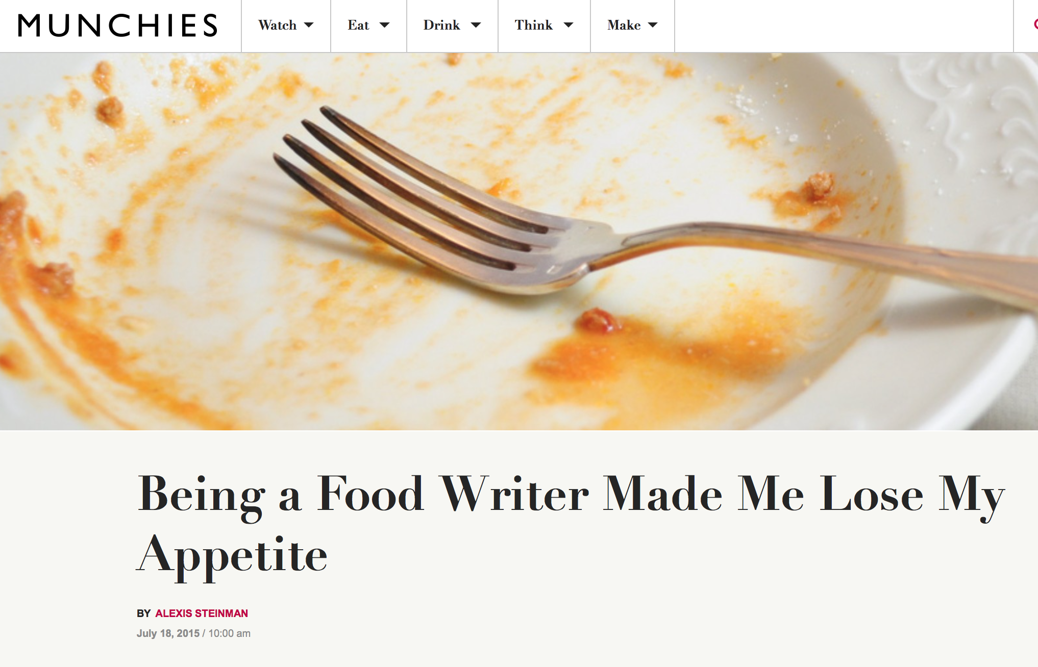 Food Writer Made Me Lose My Appetite