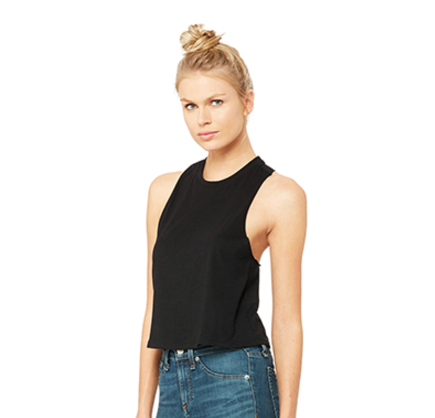 #035 BLACK OR WHITE RACER BACK CROP TOP   Features:  Sideseamed. Relaxed, cropped fit. Racerback. Raw edge arm holes. 52% combed and ring-spun cotton, 48% poly   Sizes:  S, M, L   Retail:  $32   Wholesale:  $16   Minimum Order:  6