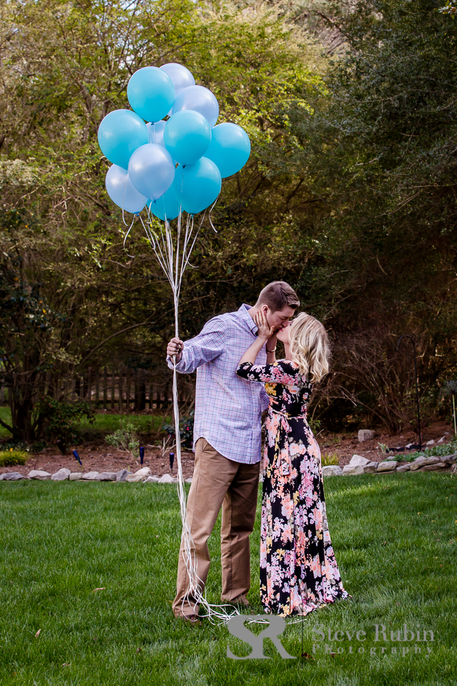 Paul & Cameron stealing a kiss during their gender reveal in Cary NC