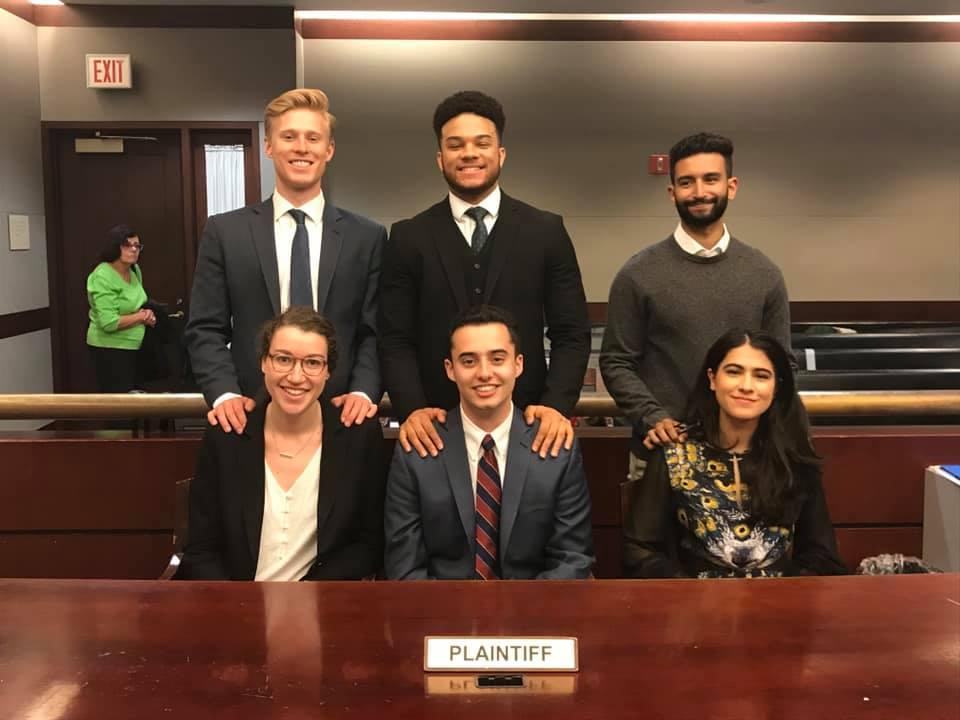 Plaintiff Team:   Front Row (Attorneys): Jodi Lessner (BC '20), Andrew Yablonsky (GS '20), Mashell Rahimzadeh (BC '20)  Back Row (Witnesses): Hardy Hewson (GS '19), Johanne Karizamimba (CC '20), Shantanu Shenai (CC '21)