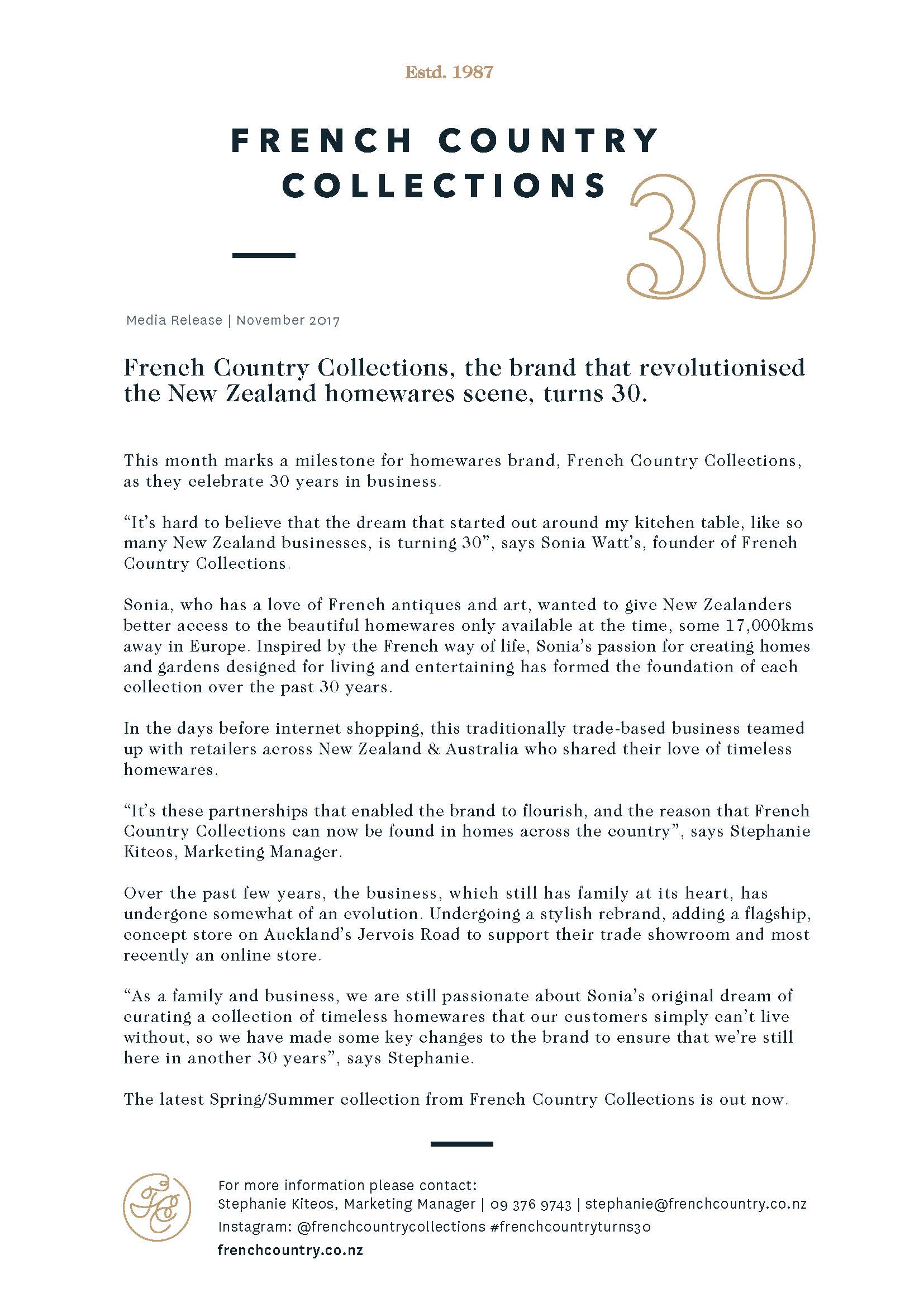 French Country Turns 30 | PR Release | Media Release | Freelance Copywriting | Small business marketing | Anne Boothroyd Creative.jpg