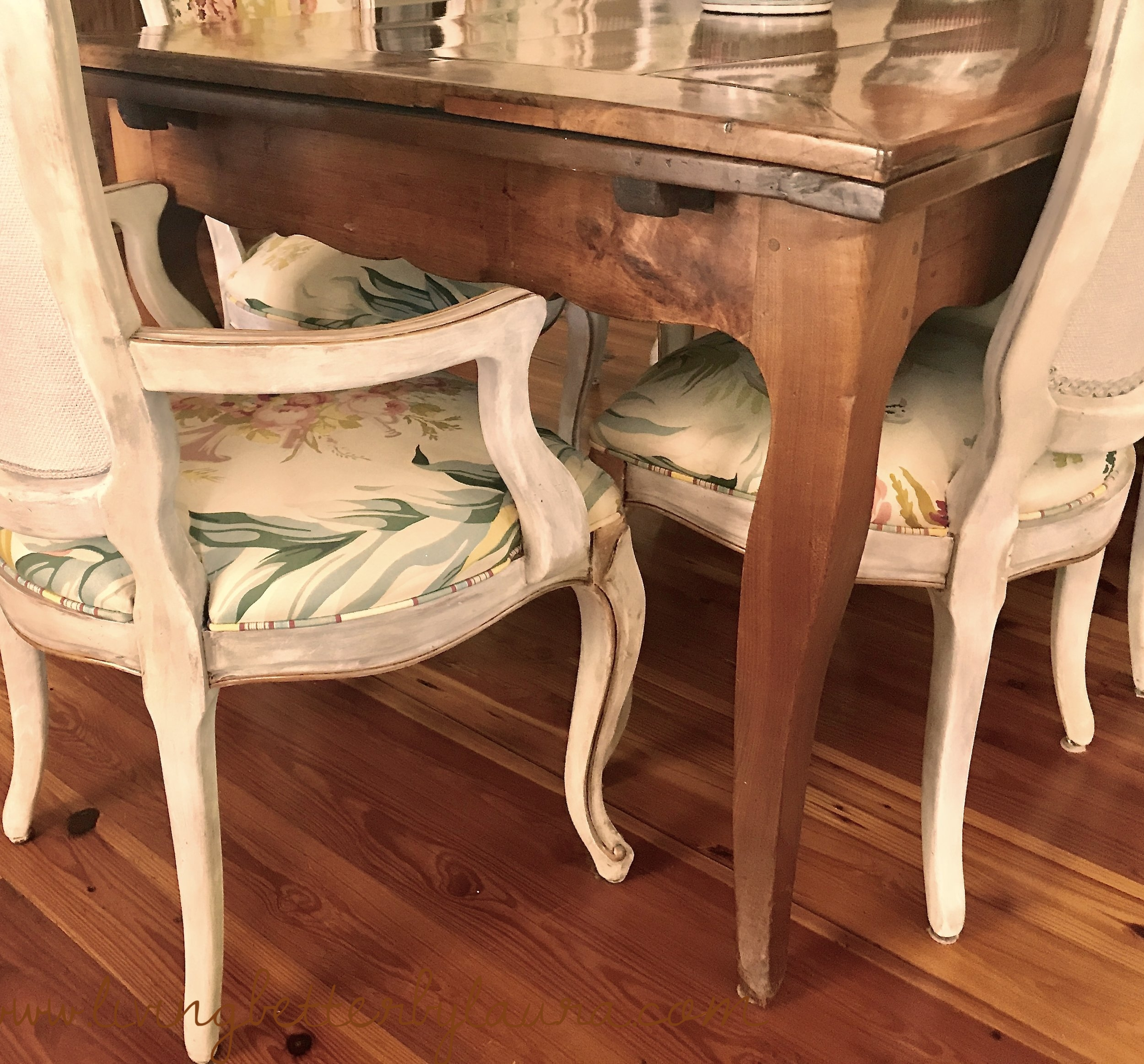 countless families have enjoyed meals on this 18th century antique French draw table over time,including mine. The Chairs are reproduction that I have refinished - post to follow soon.