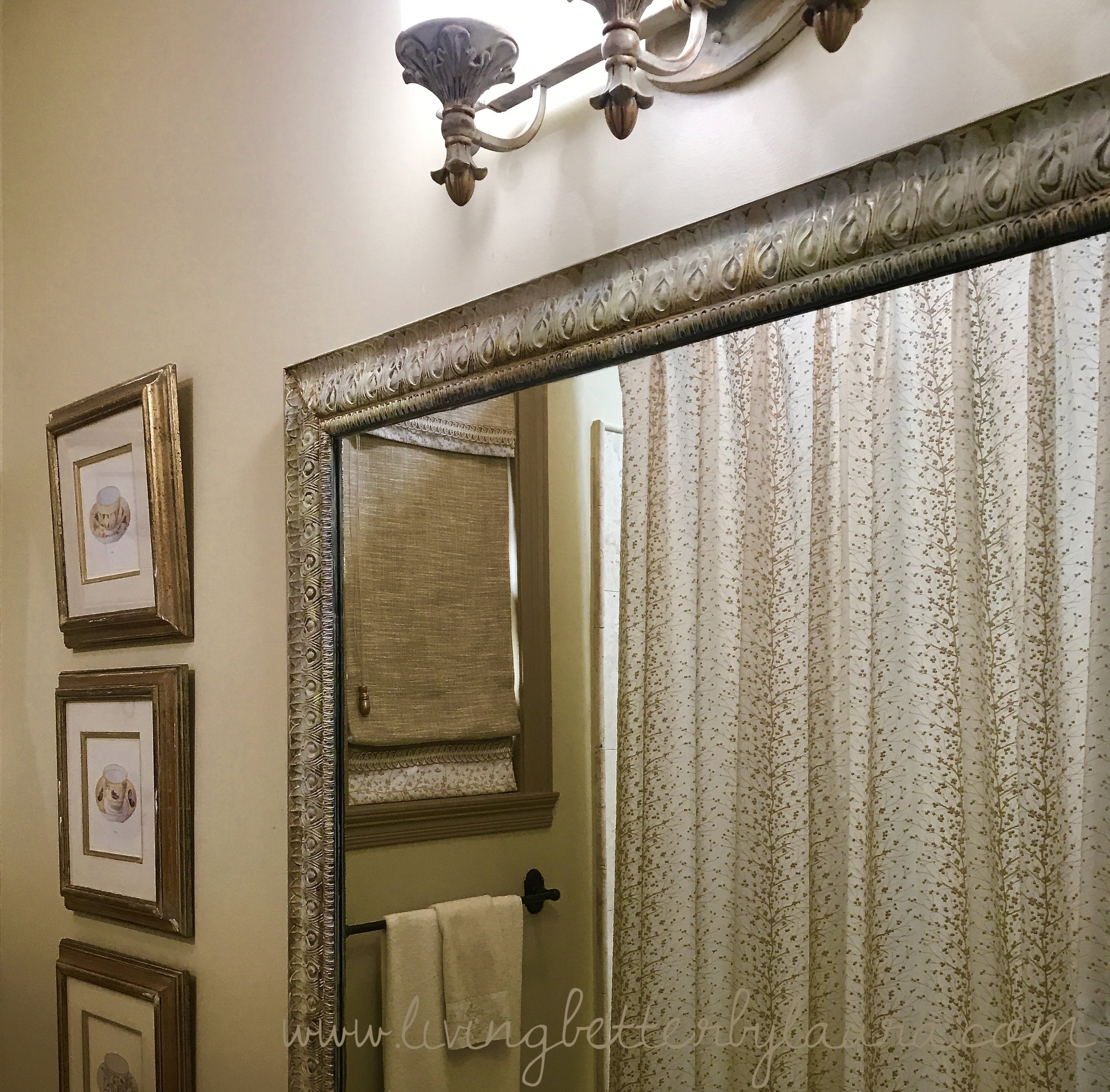 After: distressed mirror guest bath #1