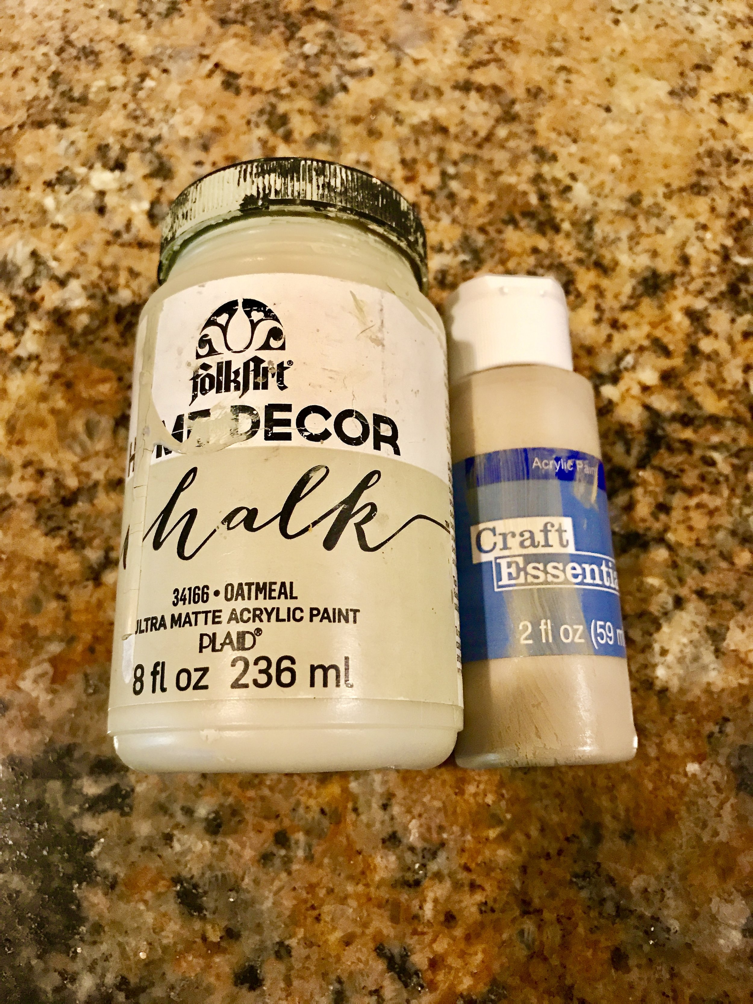 These are the shades I used in Step #2 -Oatmeal and yellow beige. The Oatmeal has a green cast to it. The walls of my closet are a gold-green hue. These shades mimic layers of paint found on many old pieces.