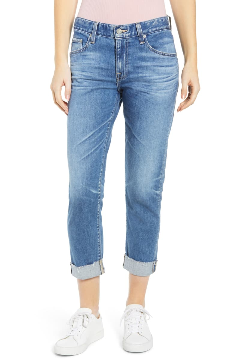 AG The Ex-Boyfriend Slim Jeans   At $225, your splurge option. Note the white sneakers! Would I steer you wrong?