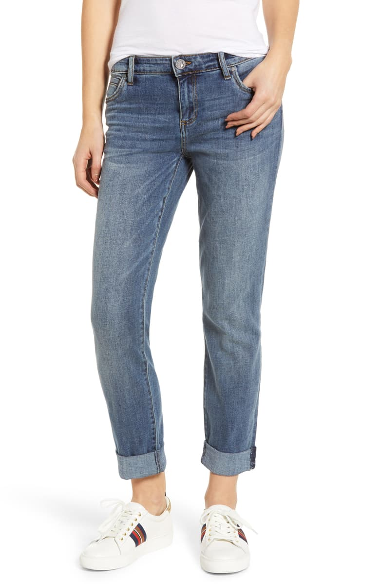 Kut From the Kloth Catherine Slim Boyfriend Jeans   Usually priced at $89, now 40% off at Nordstrom for $53.40. Once again, shown with low profile mostly white tennis shoes. I like the stripe detail on this pair.
