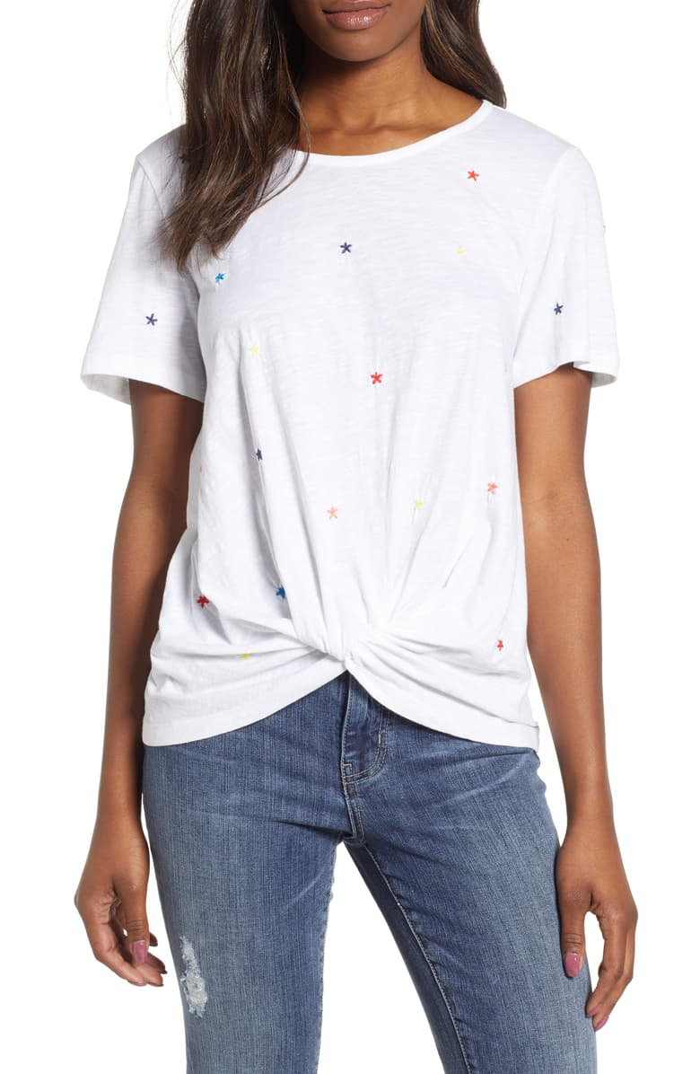 Caslon Embroidered Twist Front Top  Usually goes for $49 now on sale at Nordstrom for $23.40. Budget friendly, similar to mine.